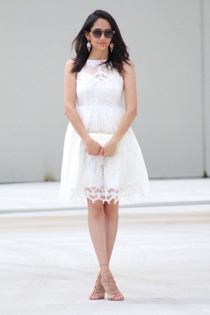 white piña lace dress