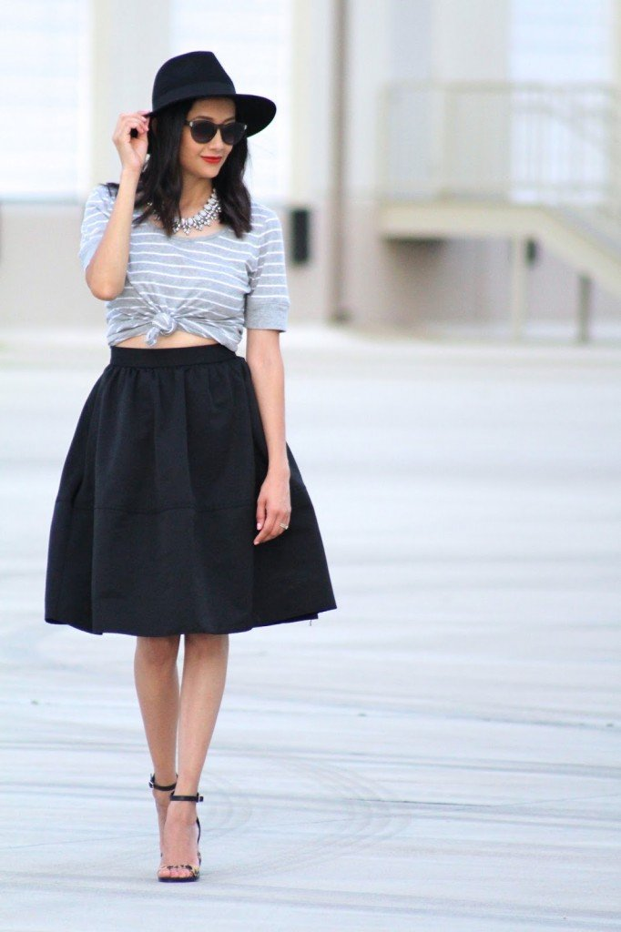 Styling a tee shirt with a midi skirt