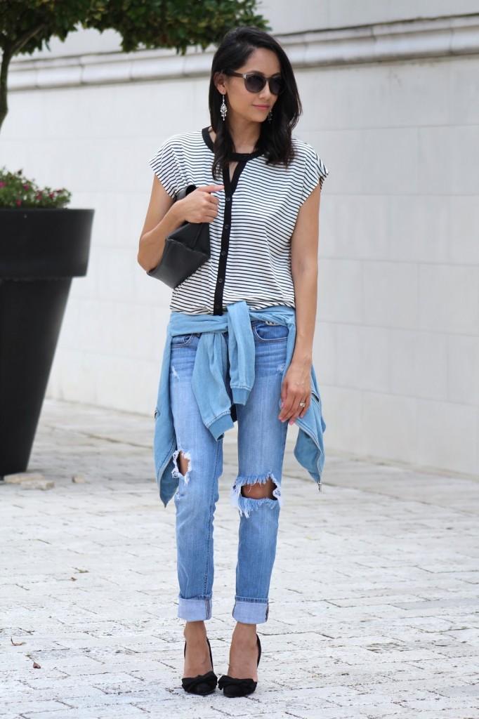 Black stripes distressed jeans