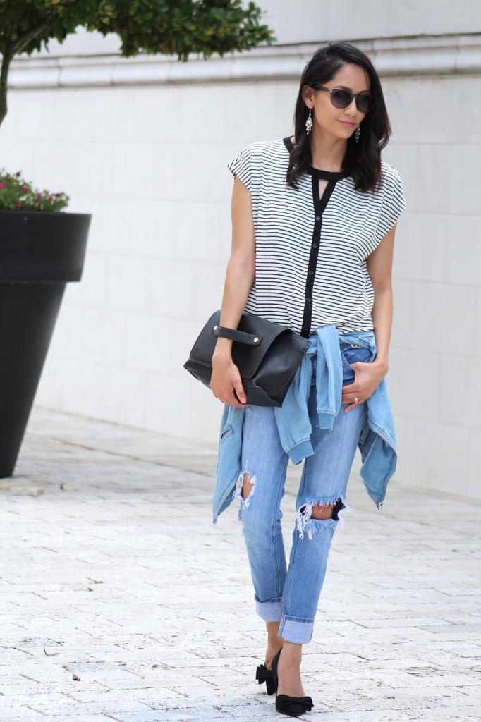 black stripes. distressed Jeans