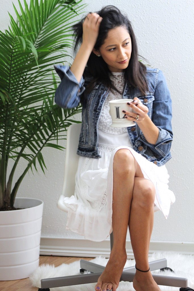 White Lace Dress & Denim Jacket