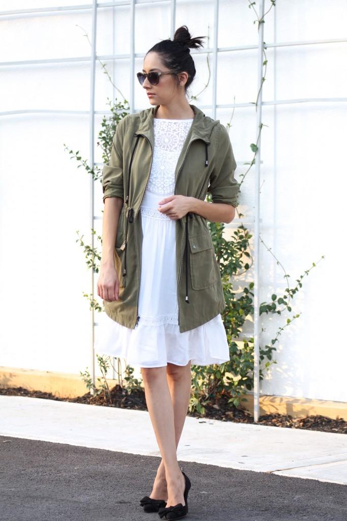 Olive Parka & white lace dress