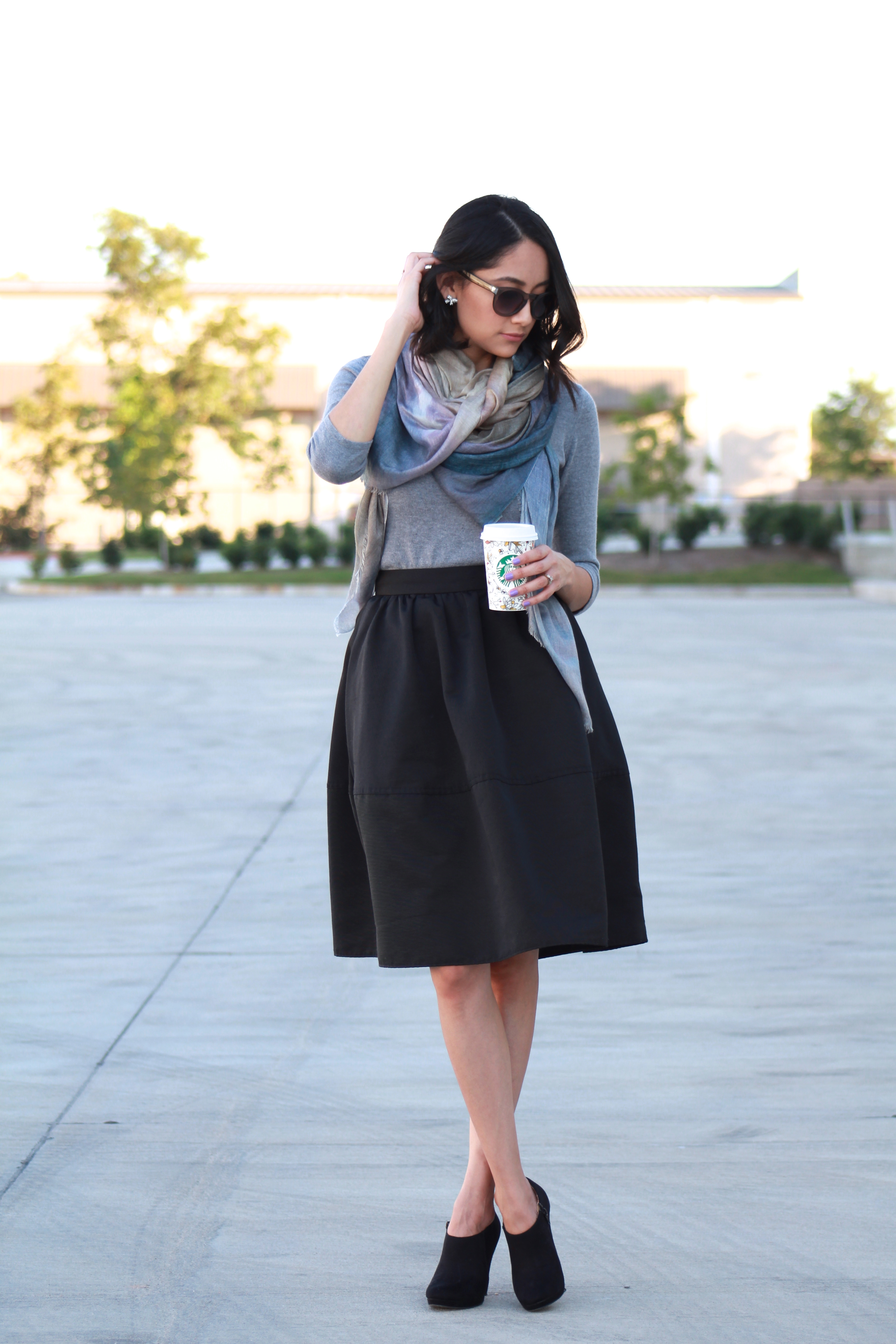 Midi skirt, Manoosh scarf and black booties