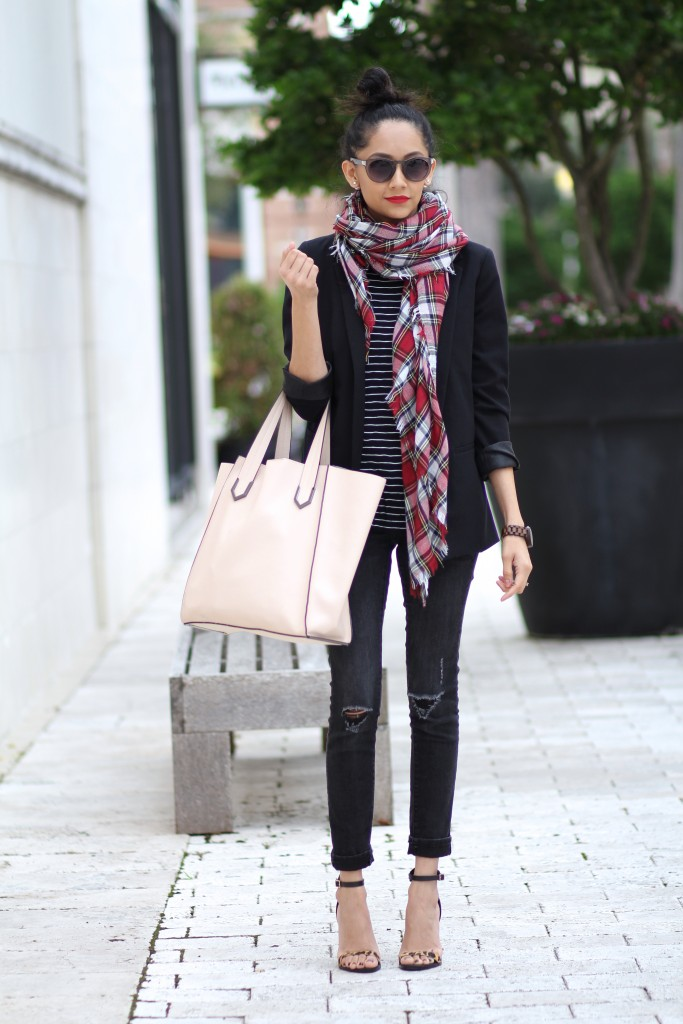 The perfect fall outfit. Mixing prints, plaid and stripes