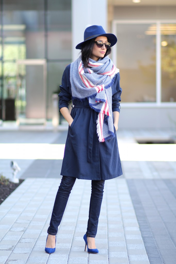 Fall outfit- Navy trench coat, navy Fedora Hat, Blanket Scarf & Blue pumps