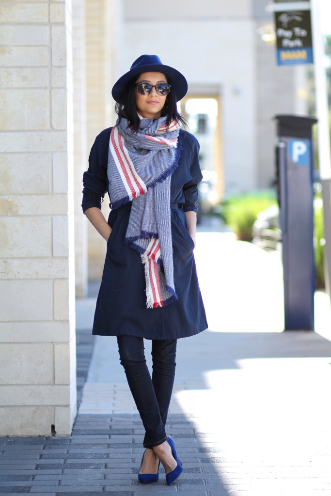 Fal Outfit-Navy trench coat, fedora & blanket scarf