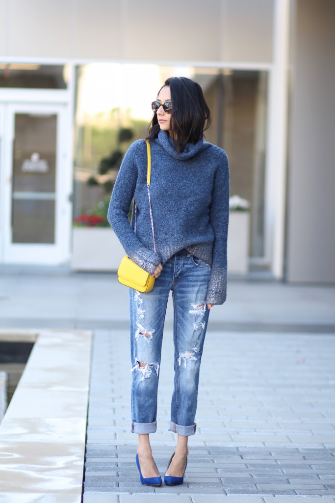 Cozy turtleneck knit sweater