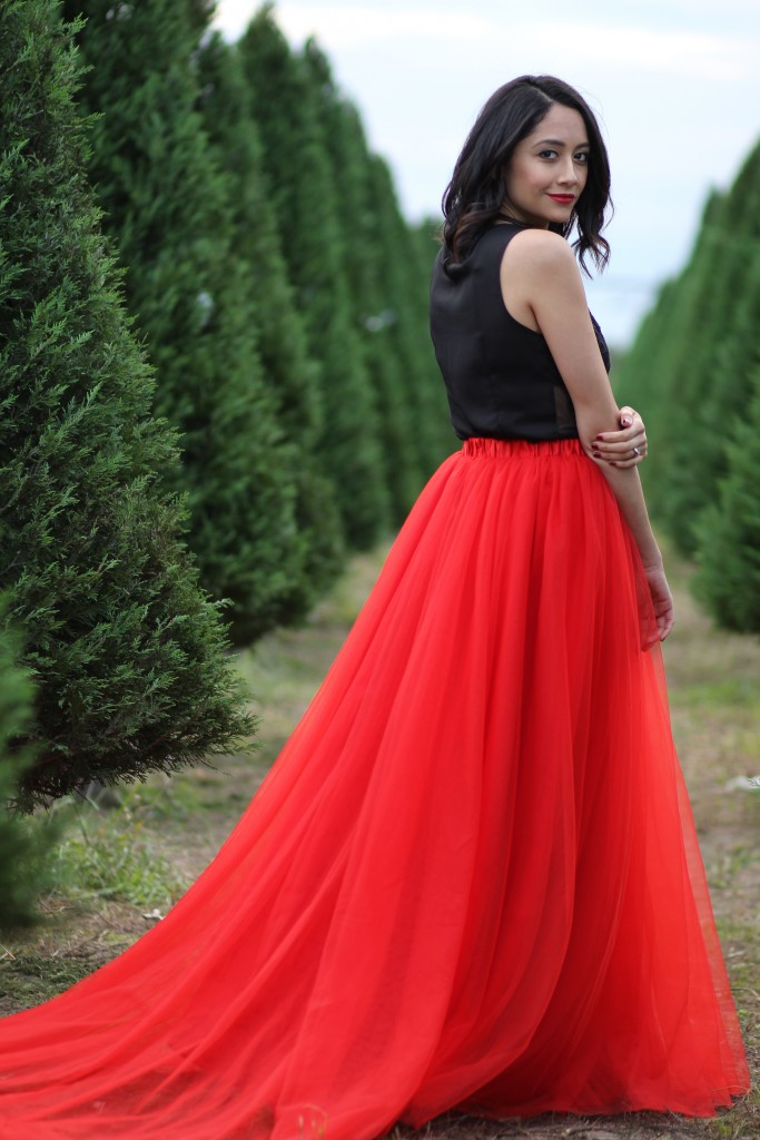 Holiday Dream - Red tulle skirt with a train