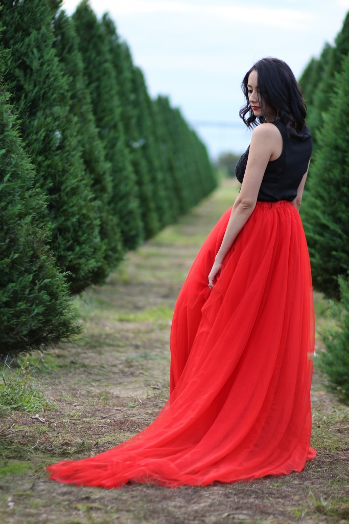 In A Holiday Dream Red Tulle Skirt