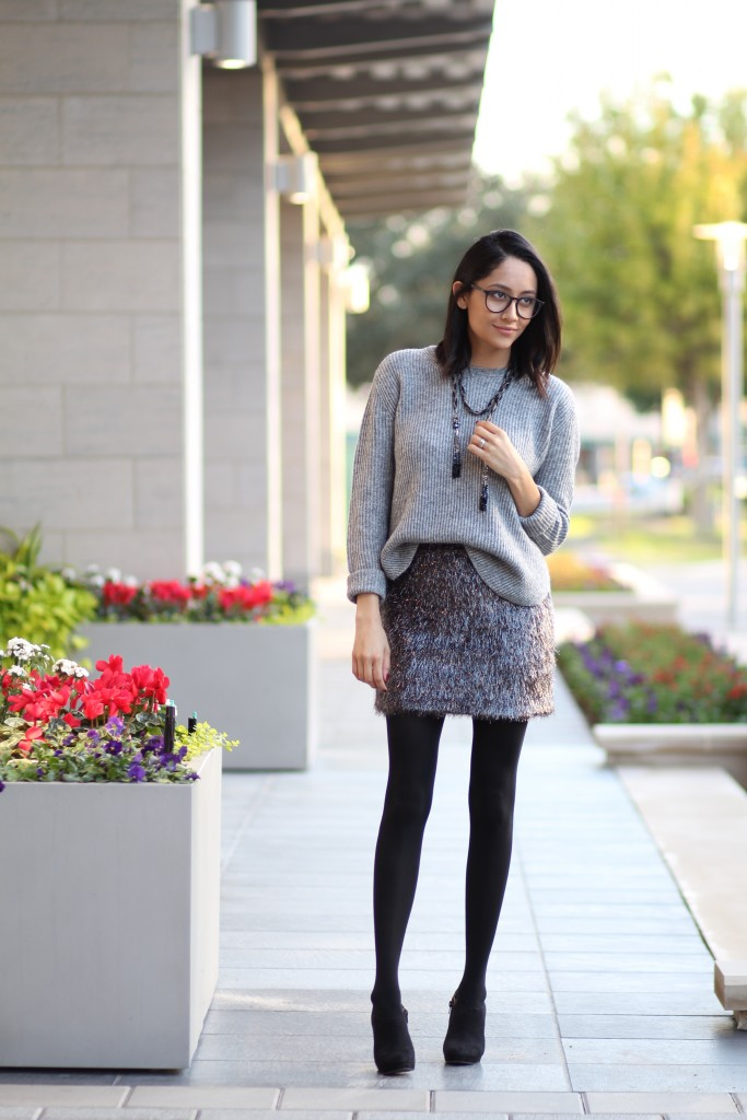 Comfy holiday look- Tinsel skirt & oversized sweater
