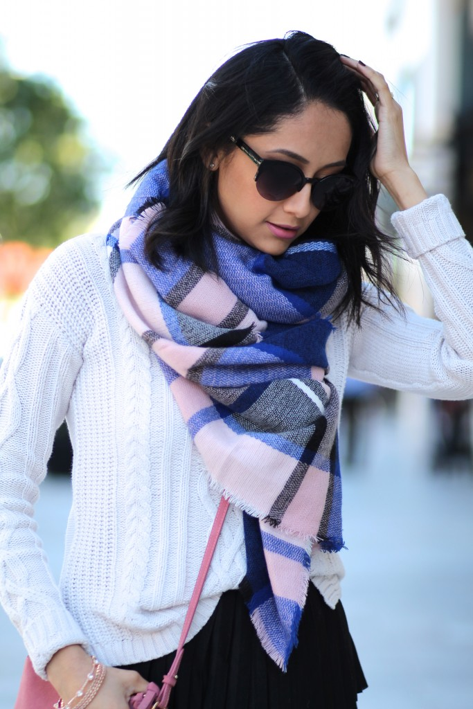 Daily Craving wearing a plaid pink and blue blanket scarf