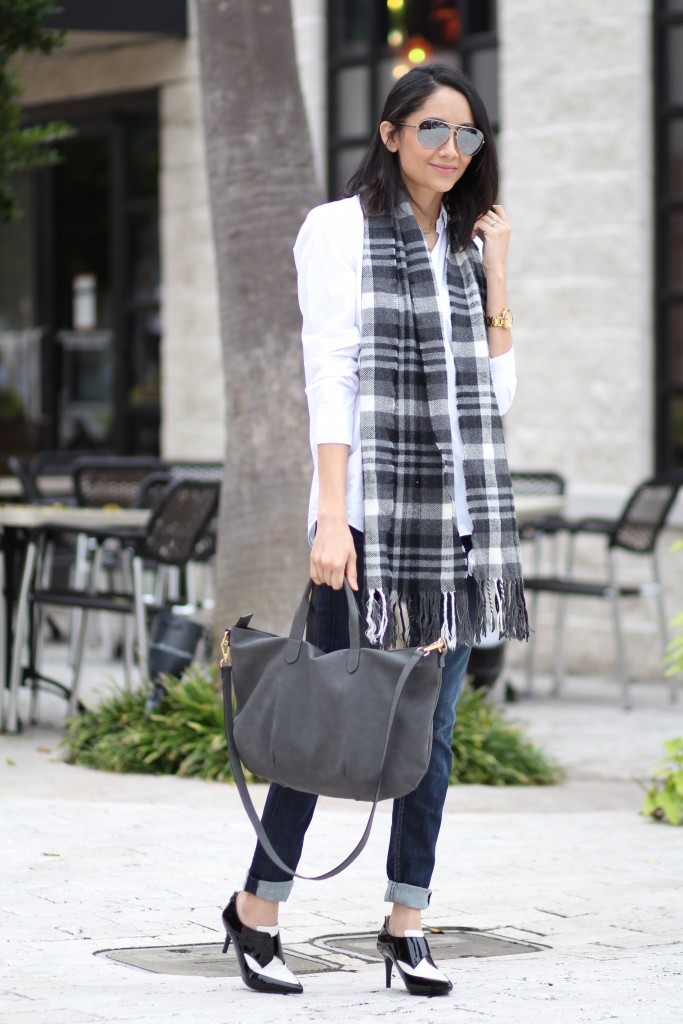 black and white color blocked booties