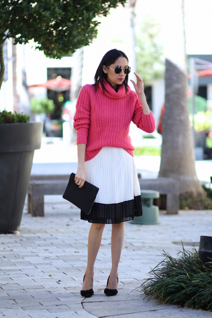 Dressing down a skirt with a turtleneck