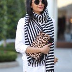 How to style a black and white striped scarf