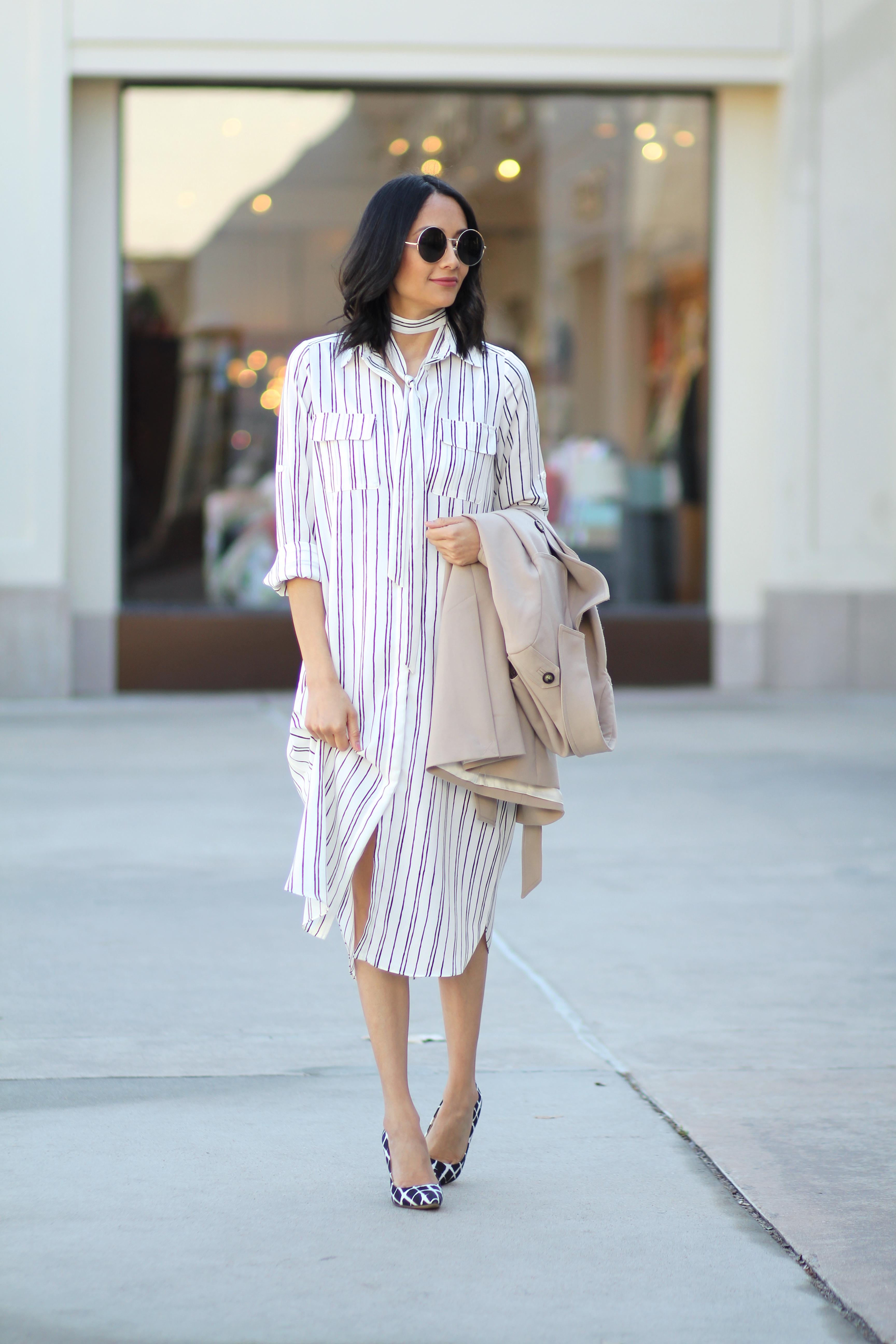 Pinstripe dress outfit idea