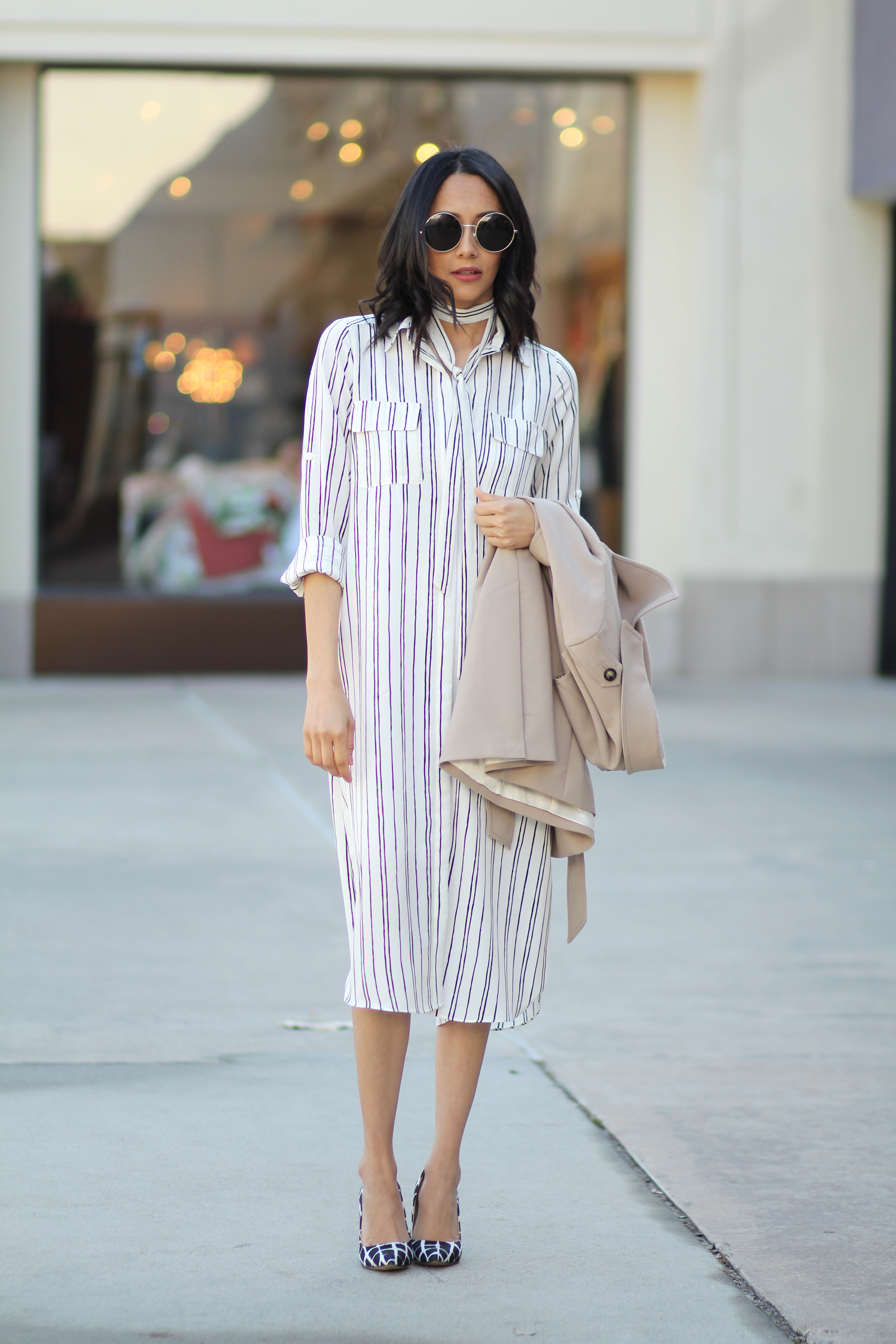 How to take a pinstripe shirt dress from work to play