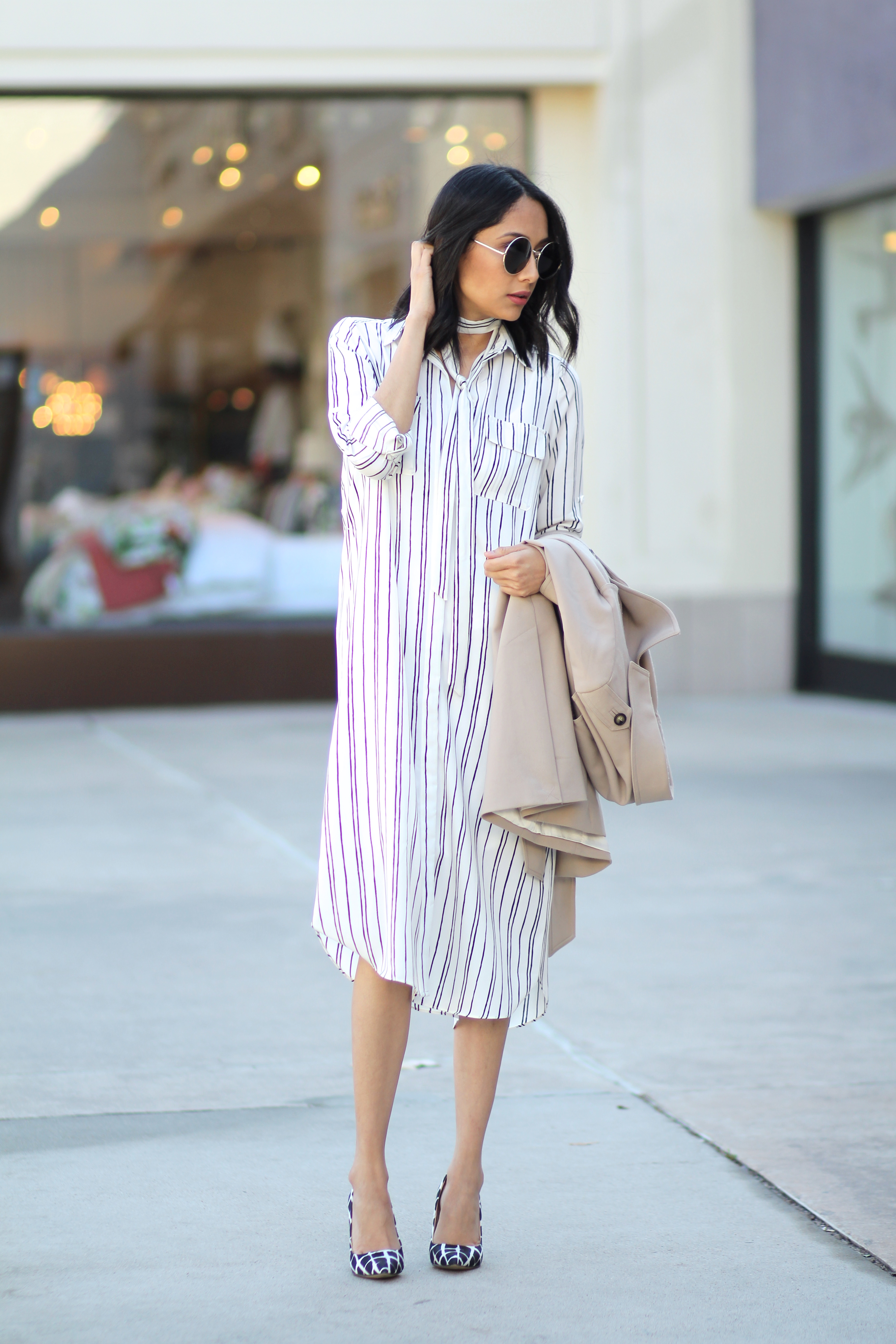 wear a skinny scarf with a shirt dress for a casual look