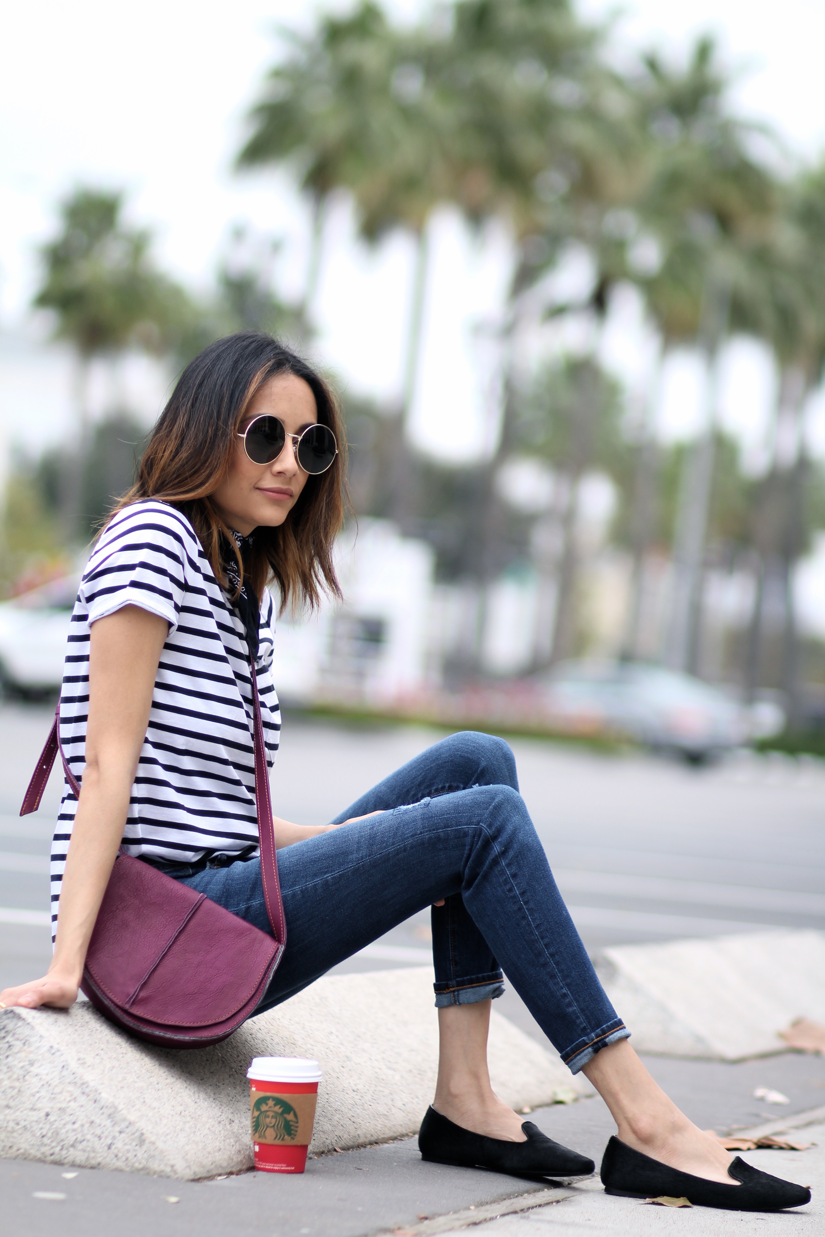 striped tee shirt and saddle bag