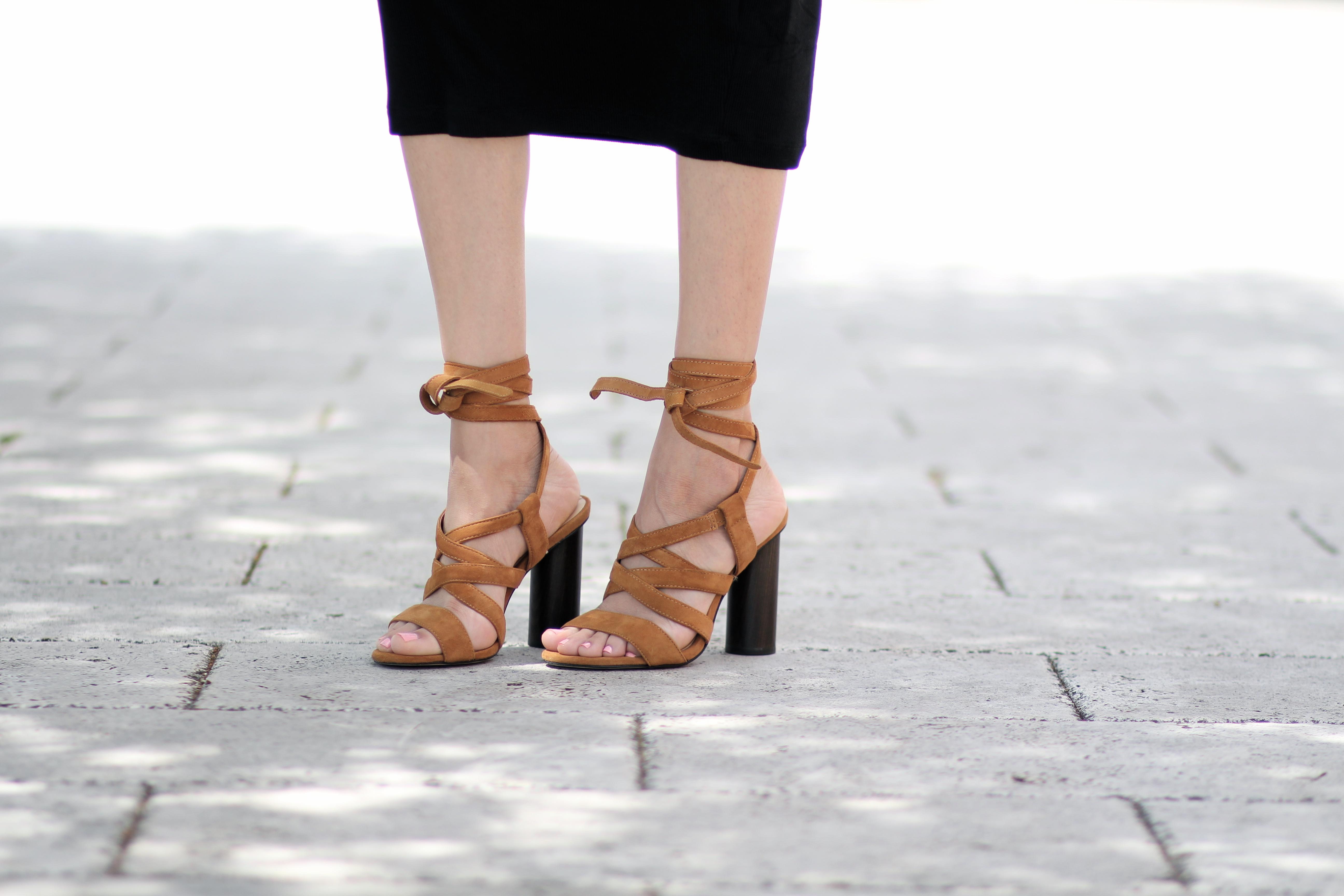 Camel suede lace up sandals