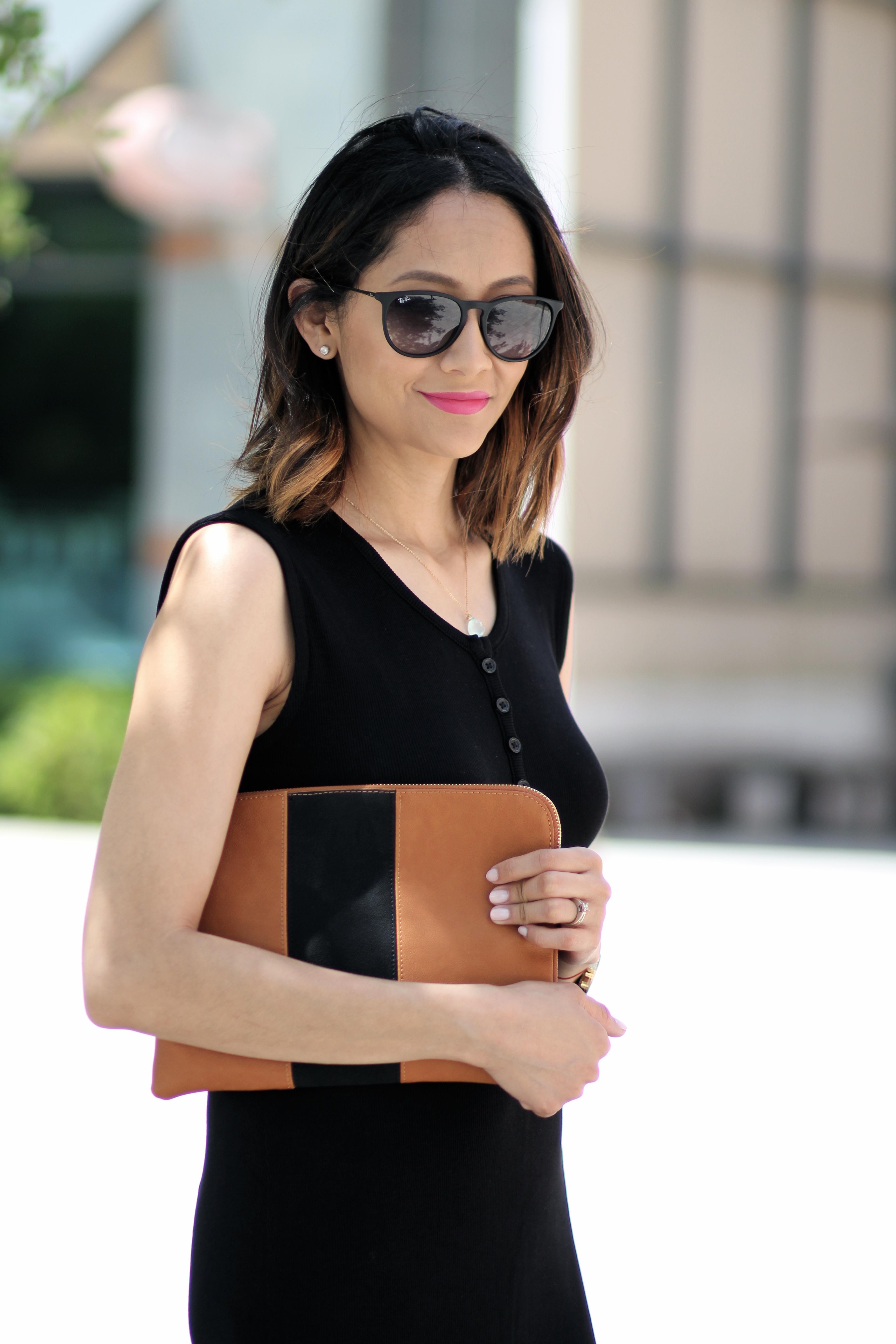 black midi dress | Rayban sunnies