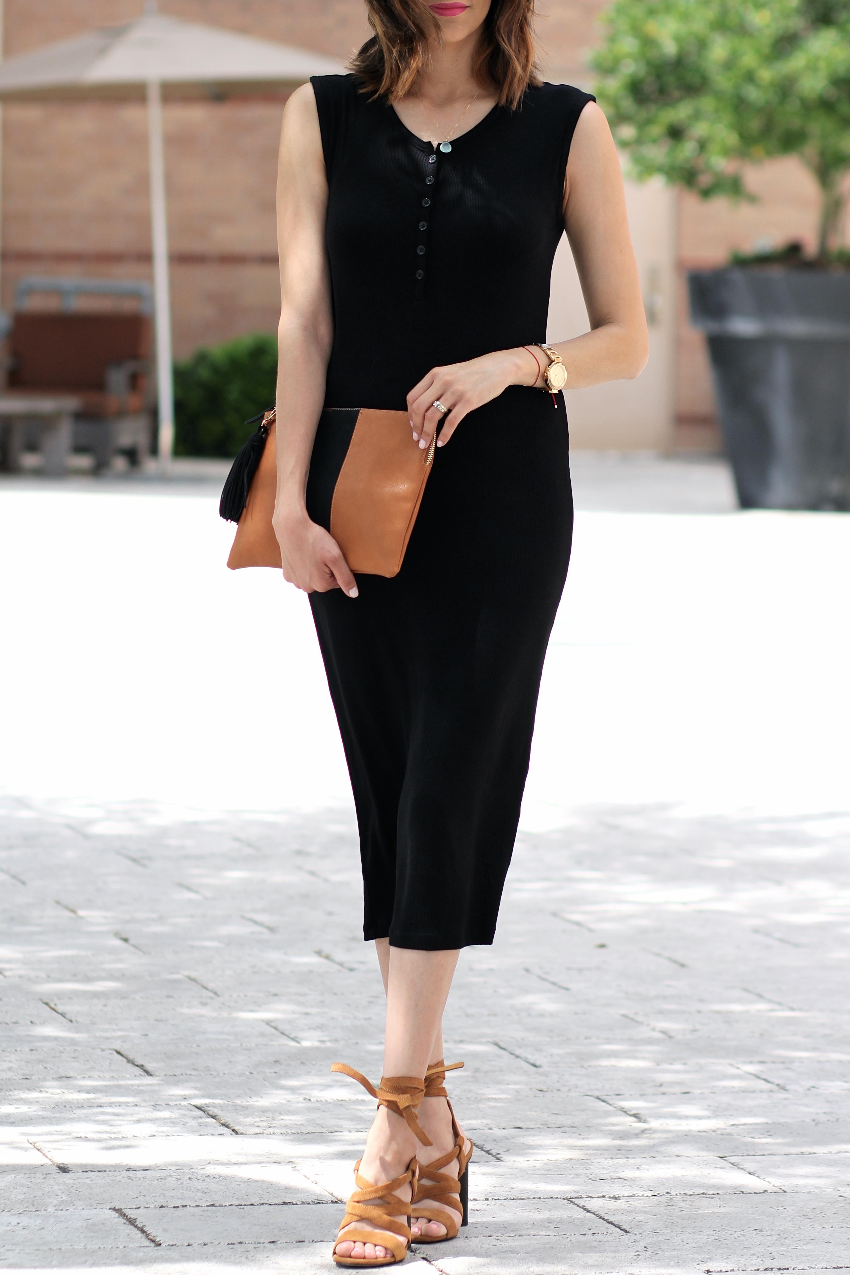 black midi dress & suede lace up sandals
