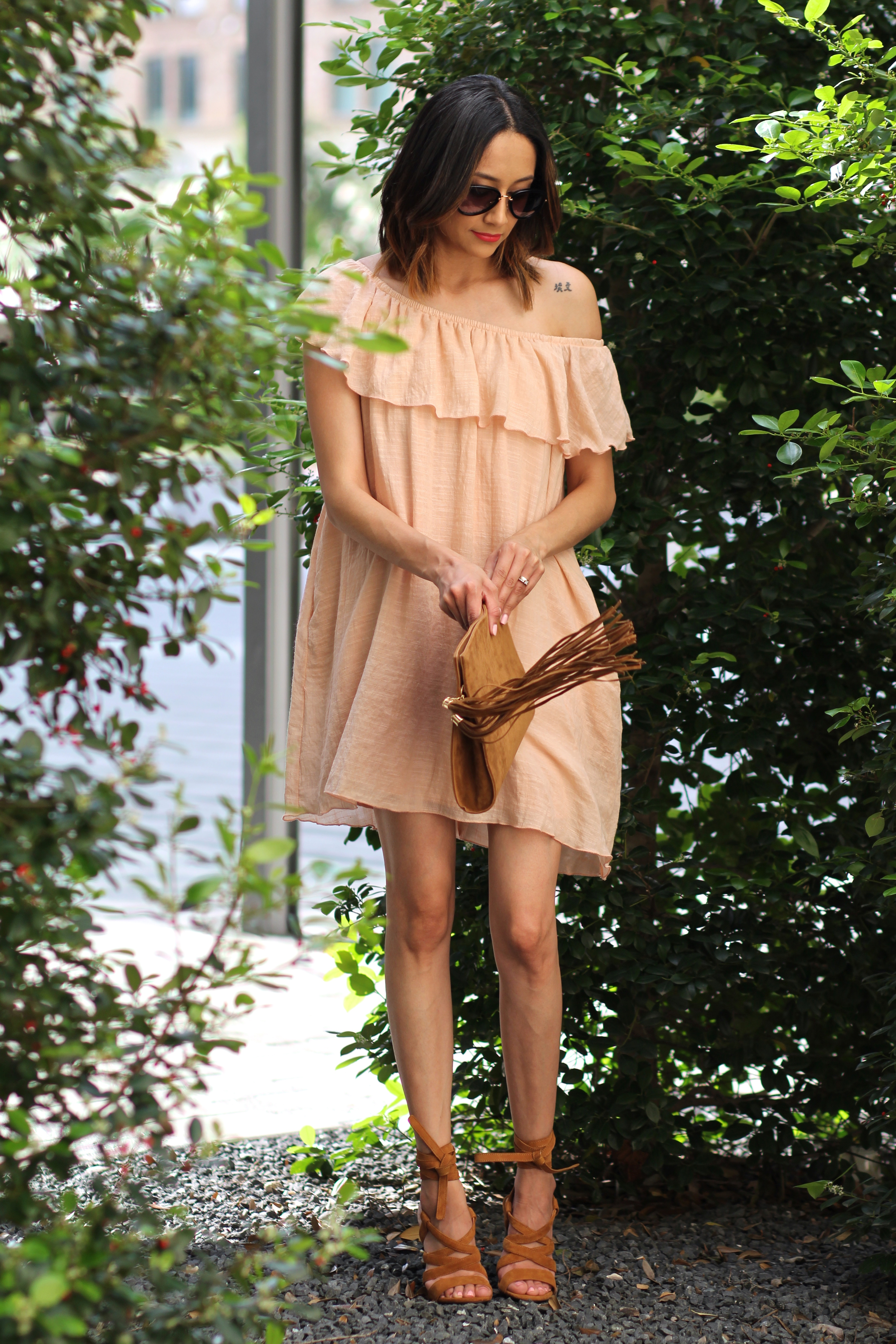 Blush off the shoulder dress