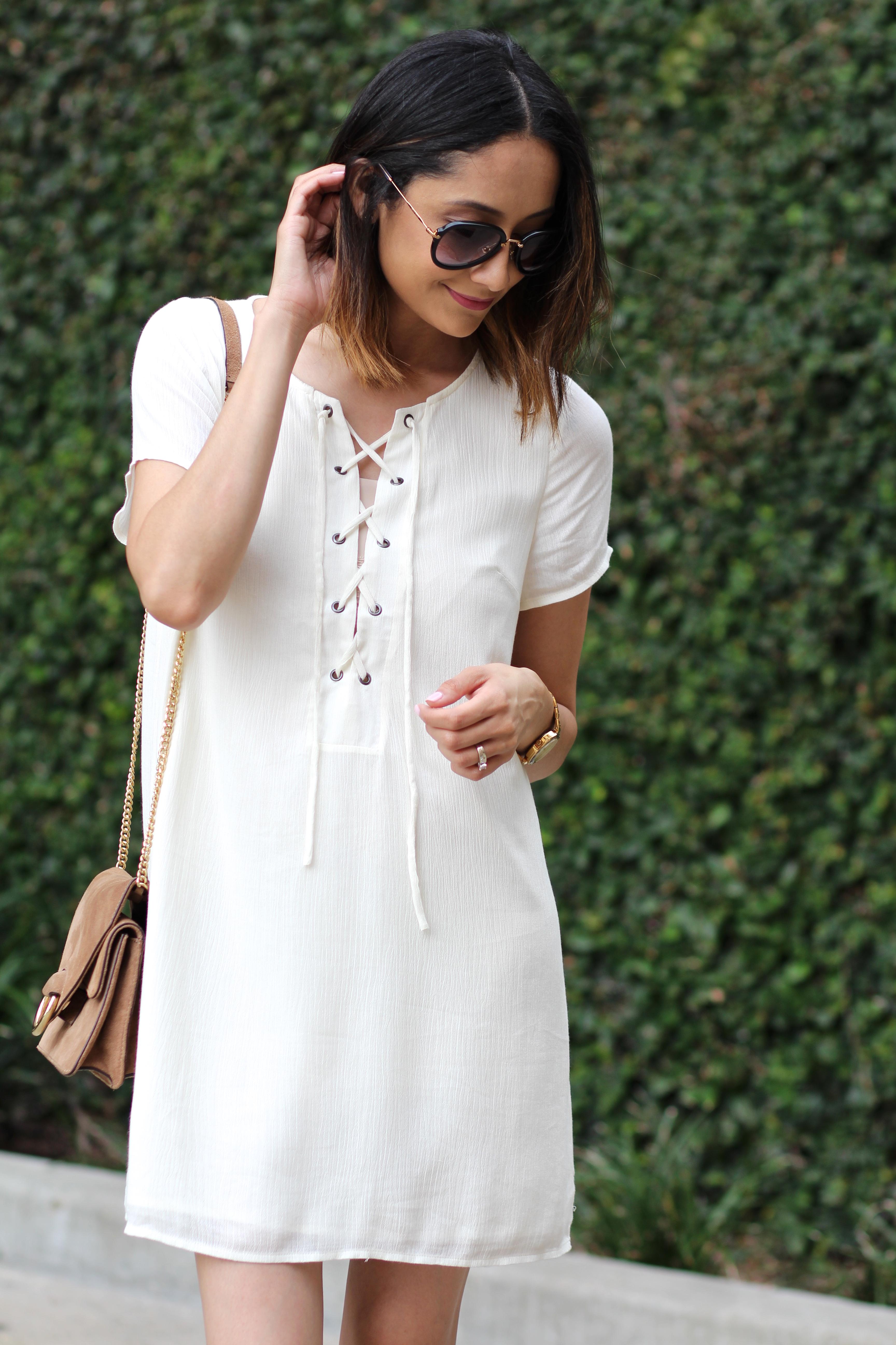 gauze lace up dress