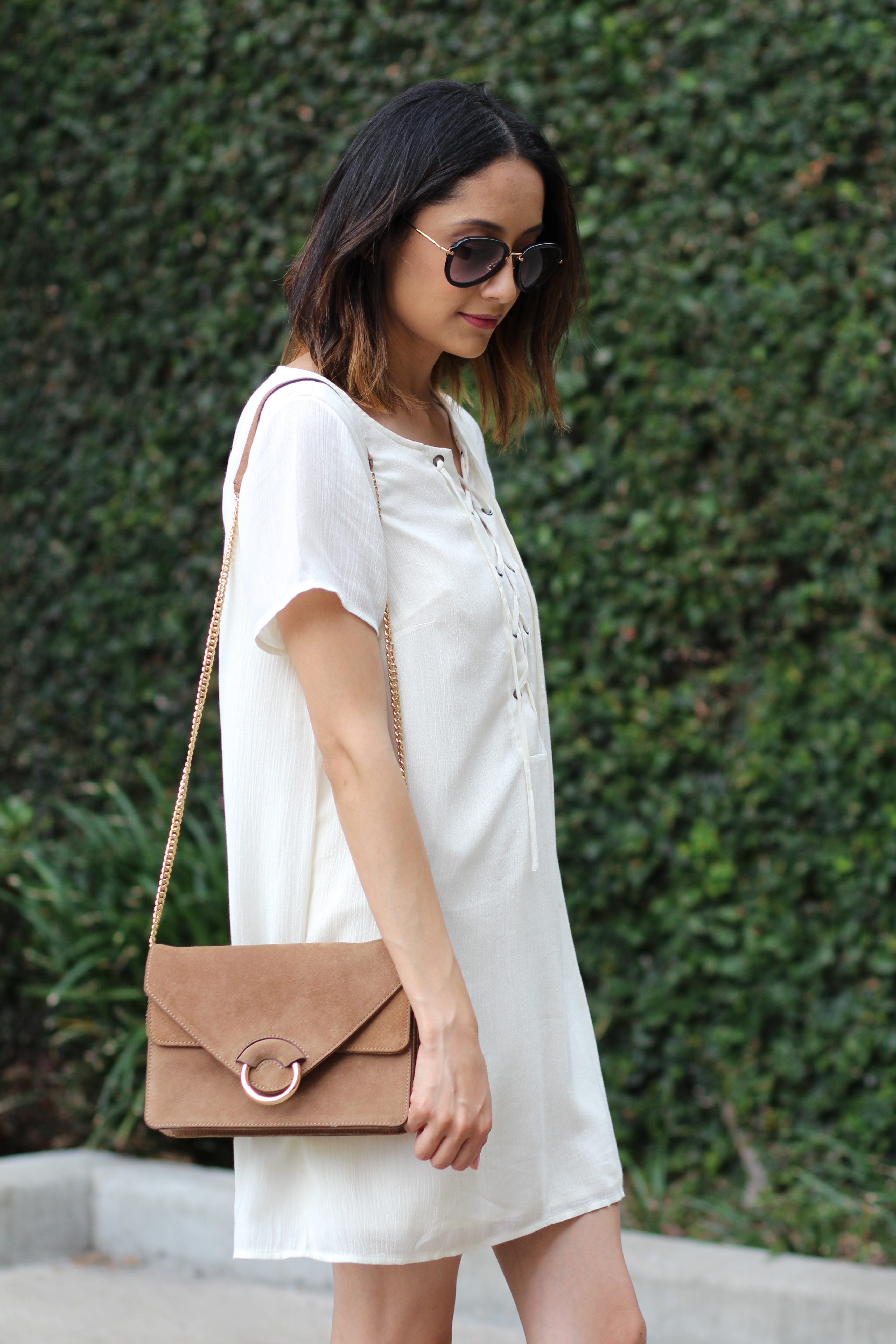 gauze lace up dress and suede structured bag