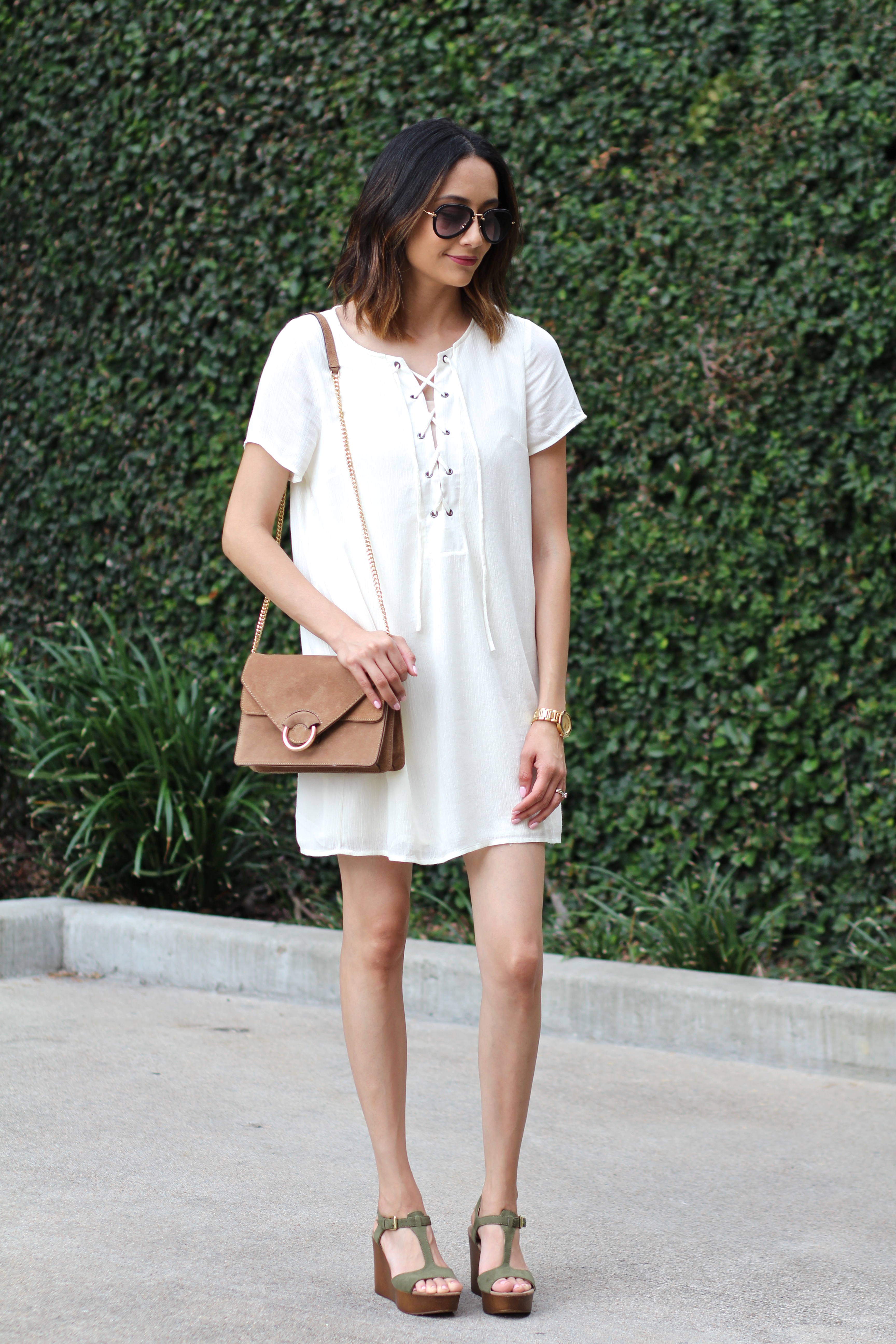 Lace up dress with platform wedges