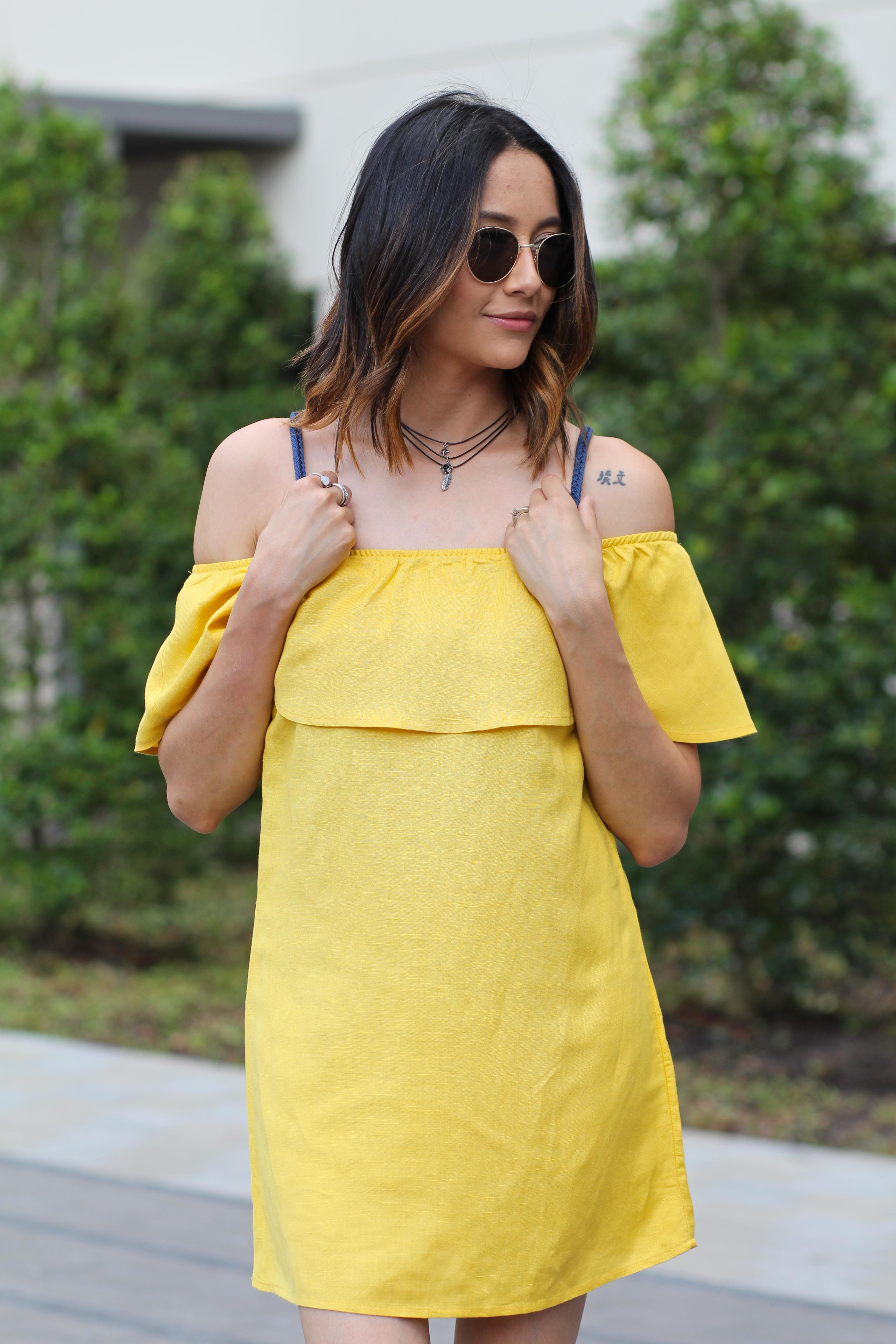 Sayulita Crocheted Backpack | Round Sunglasses | Off The Shoudler Dress