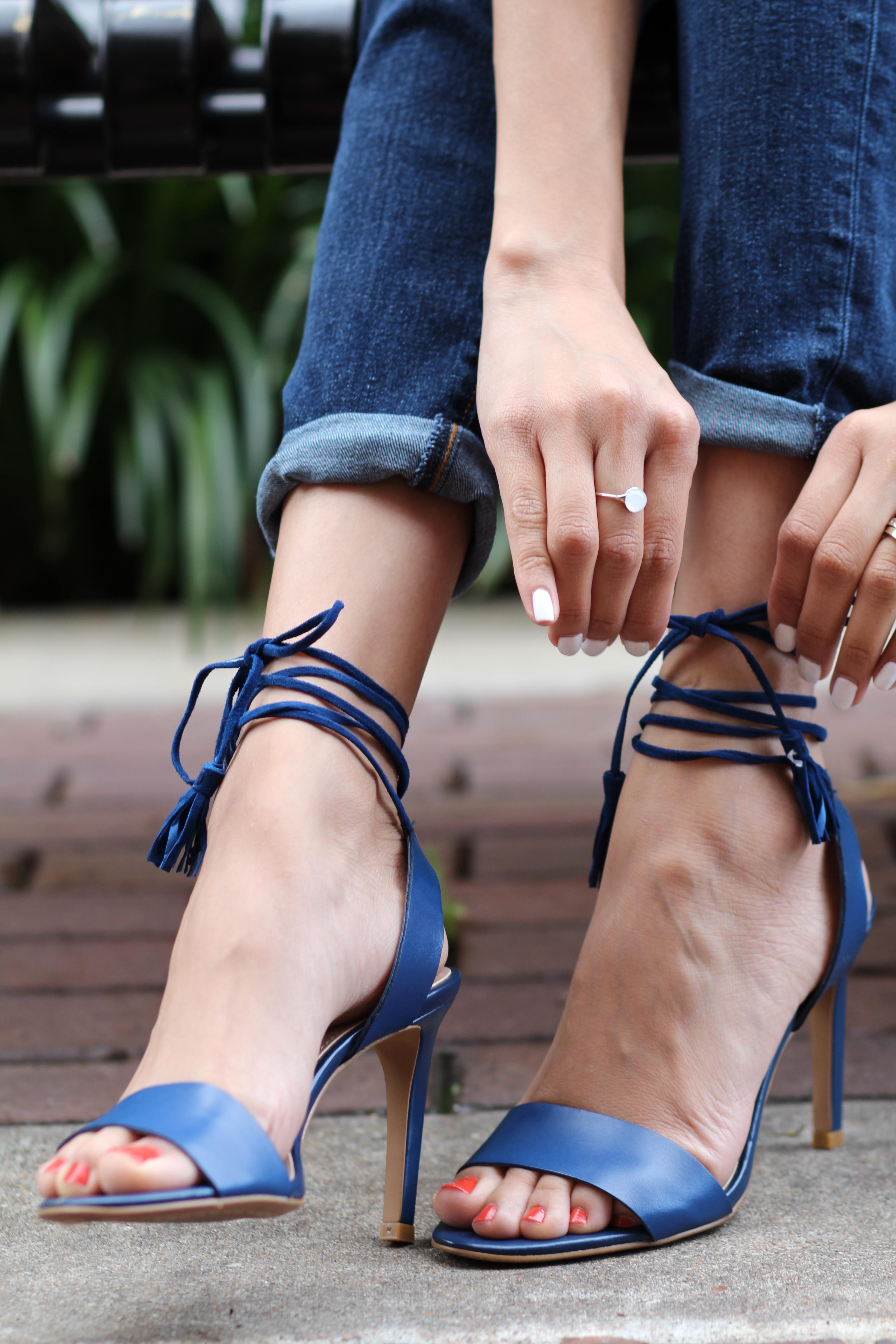 minimal navy tassel sandals