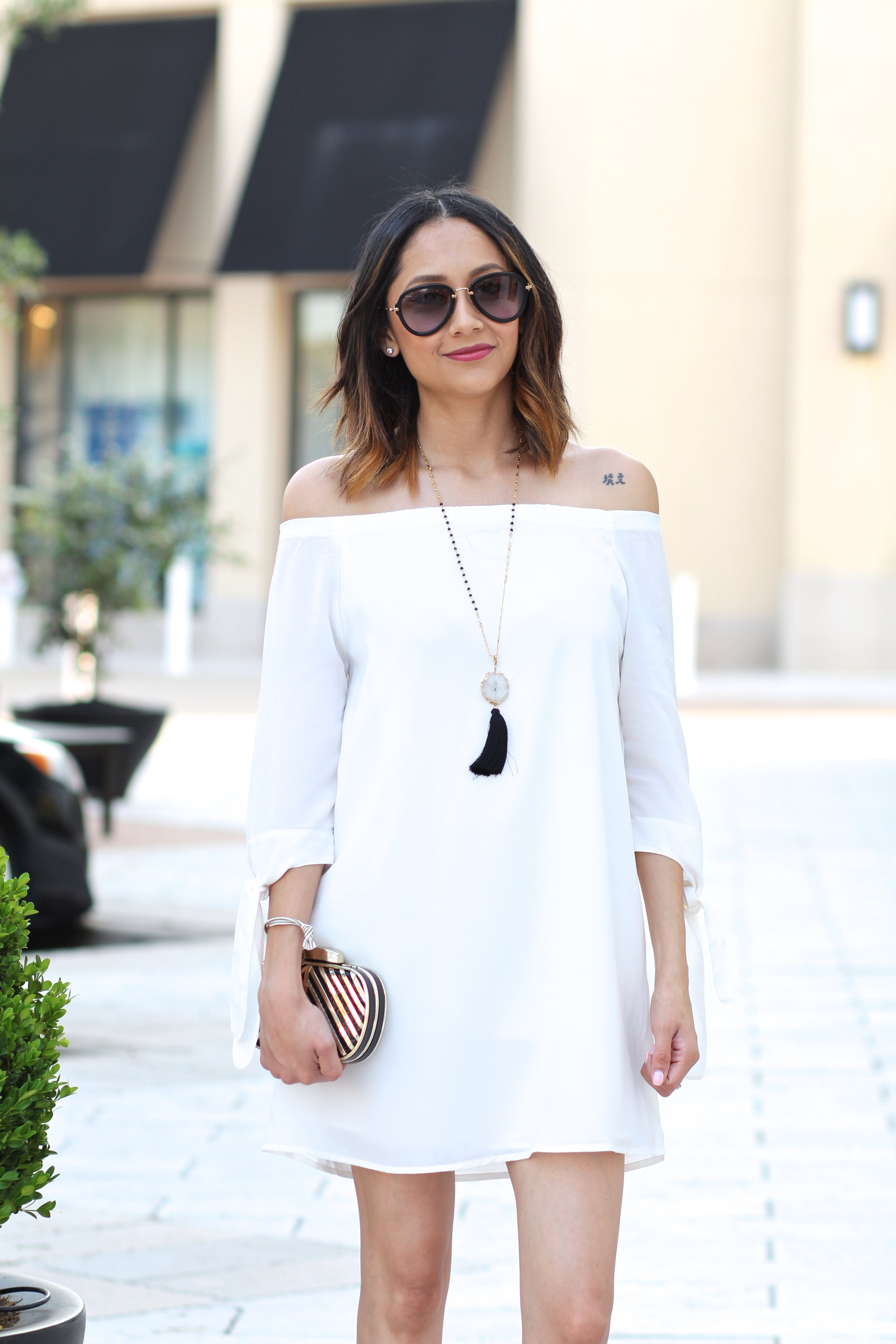 white of the shoulder dress for spring