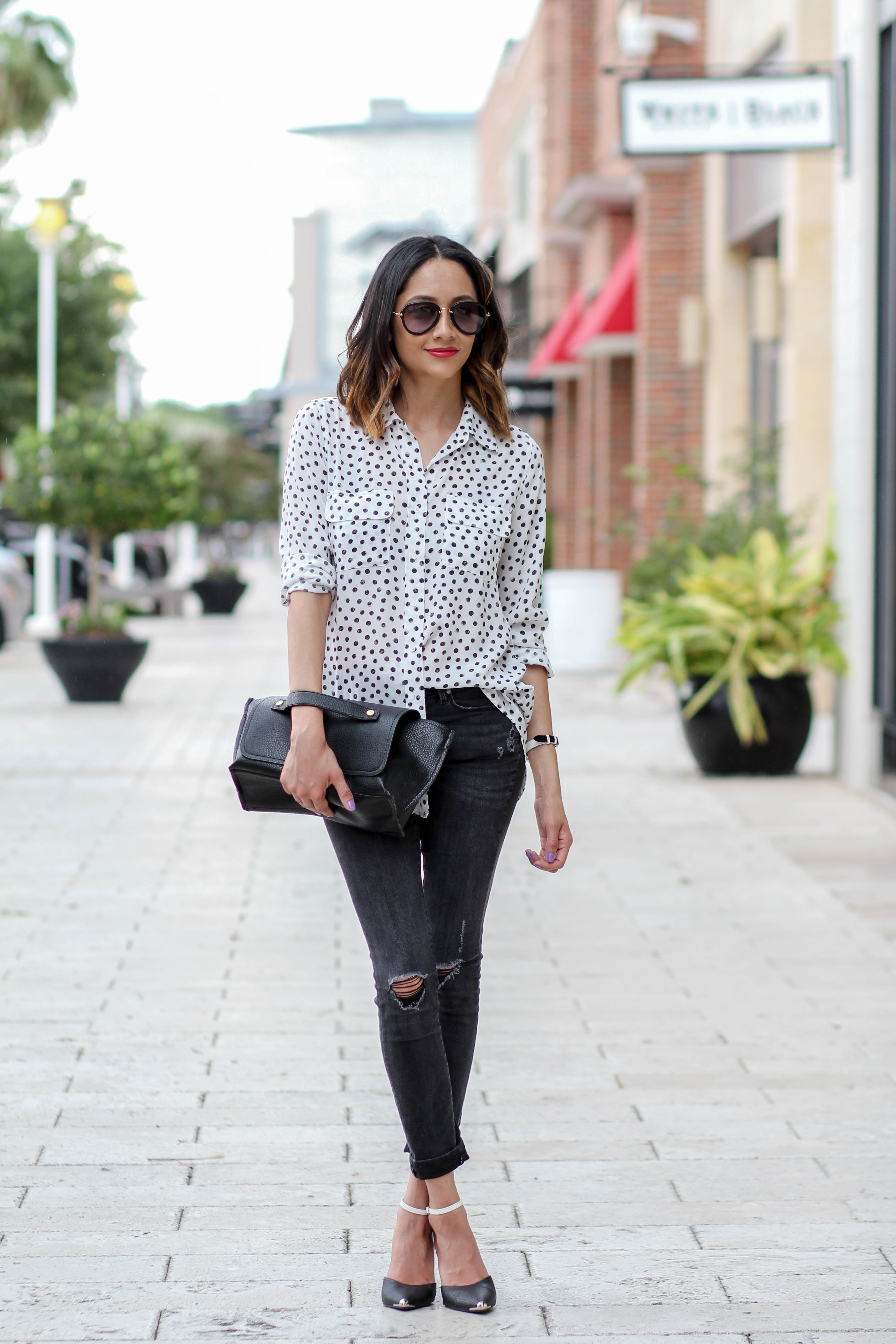 Polka Dotted Shirt |Casual Look