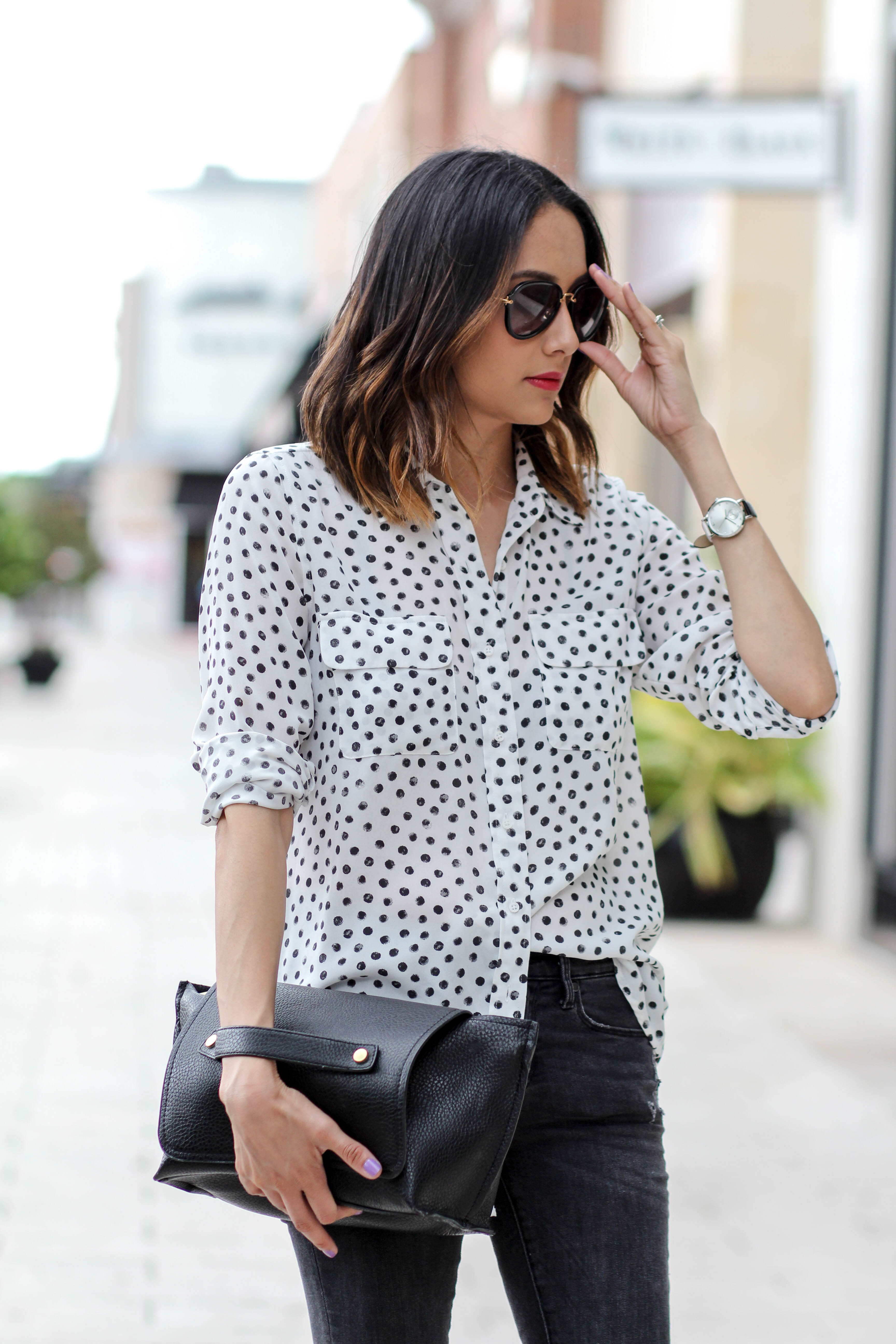 Polka Dotted Shirt | Ombre Hair | Aviator Sunglasses