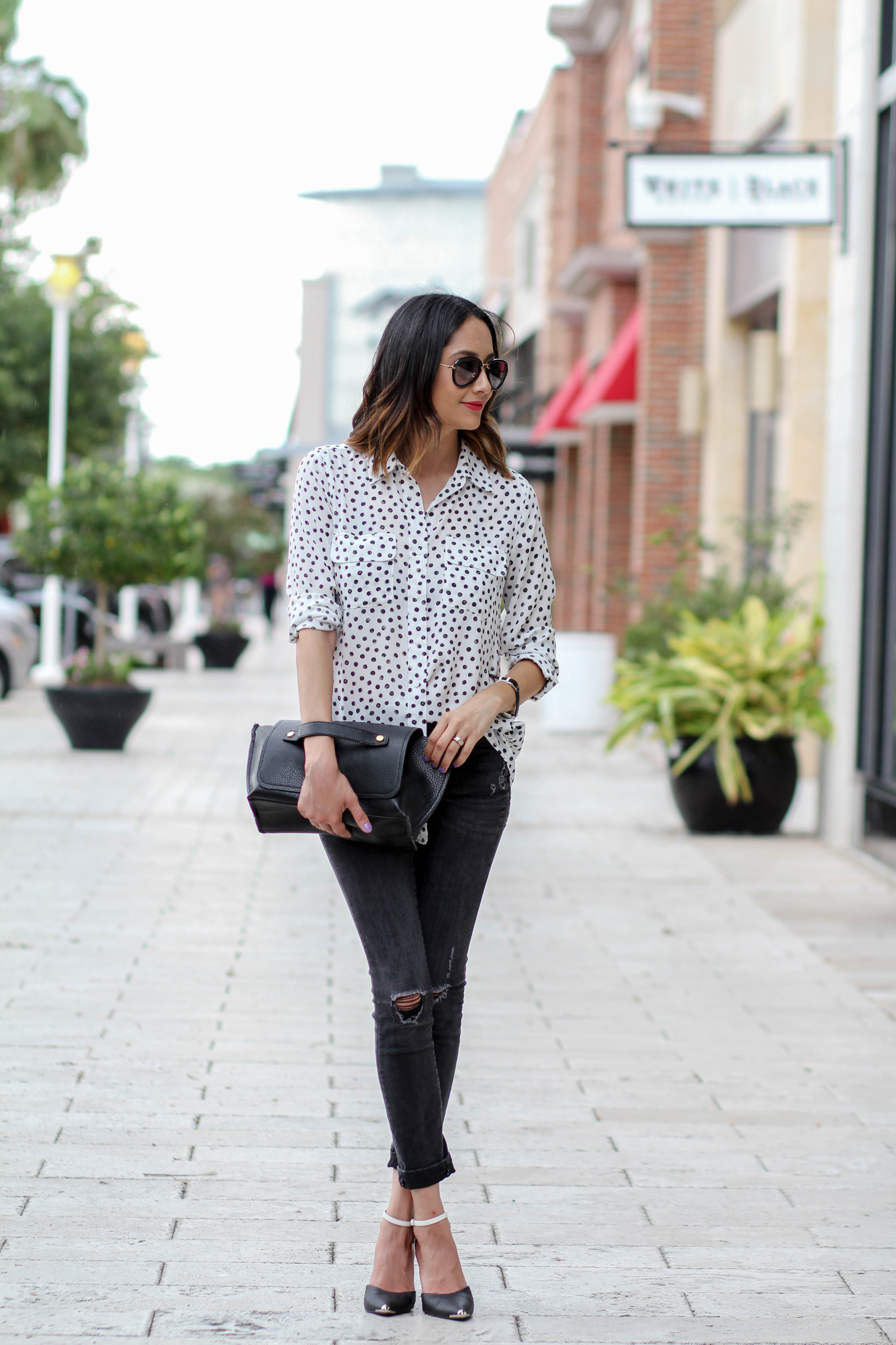 Casual Office Look | Polka Dotted Top | Black and White Look