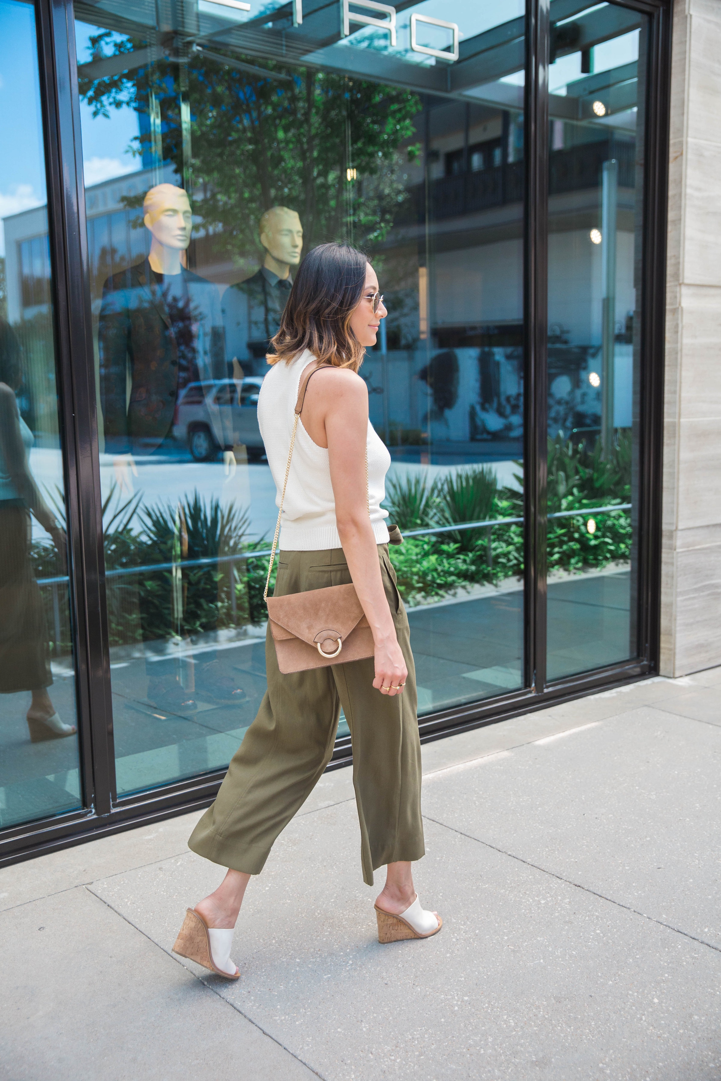 Transitional Pieces | Green Culottes | Slip -On Wedges