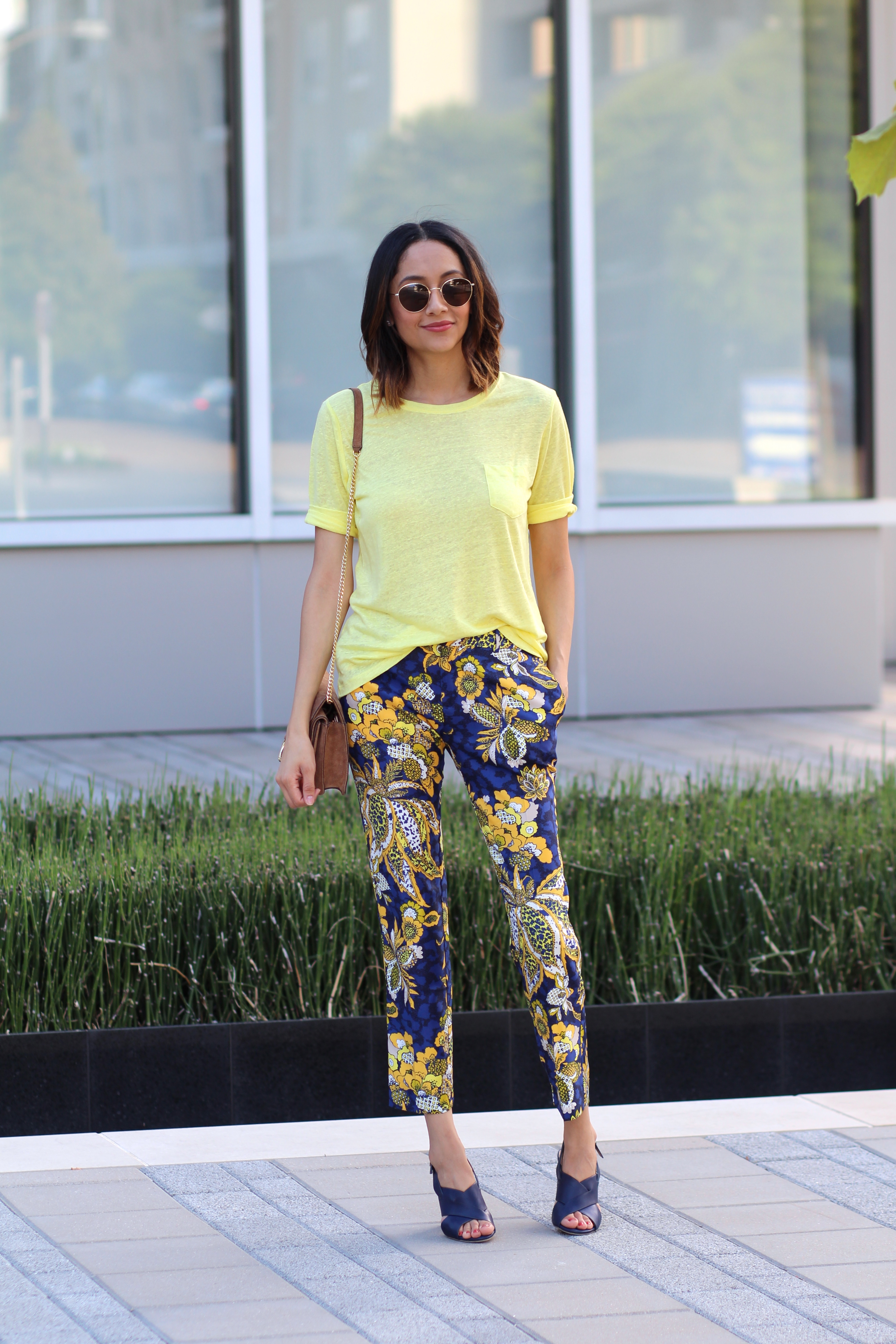 adding more color with printed pants and a bright colored tee