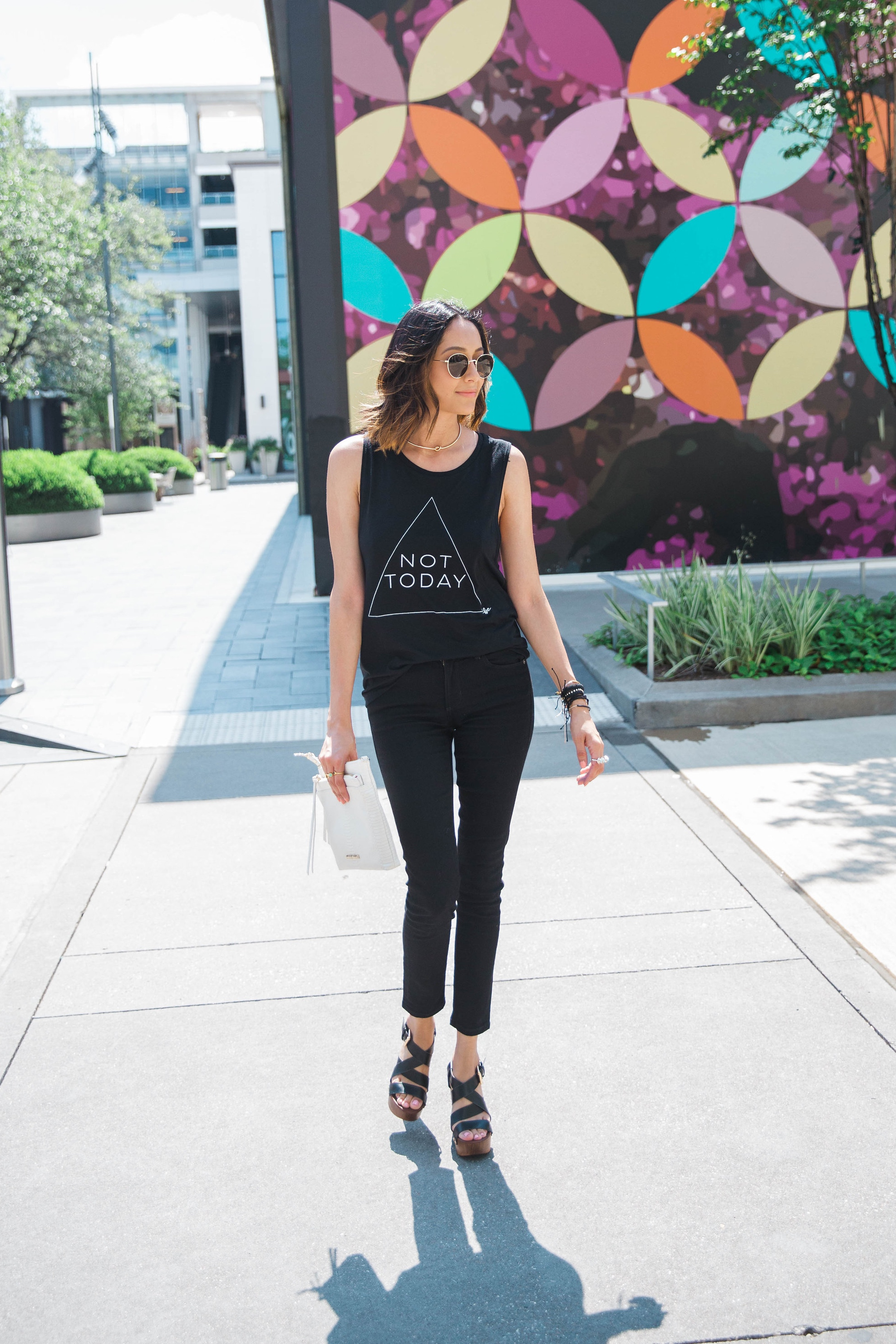 Edgy Look | Black Skinny Jeans | Not Today Printed Tee |Platform Sandals