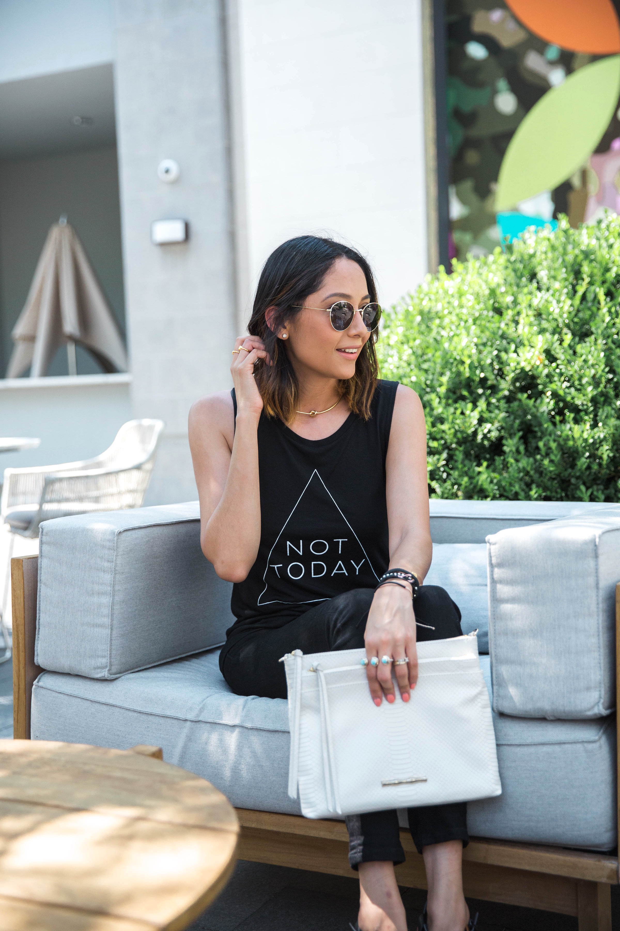 Not Today Printed Tee | All Black Look | Casual Chic | Minimal Style | White Clutch | Round Sunglasses