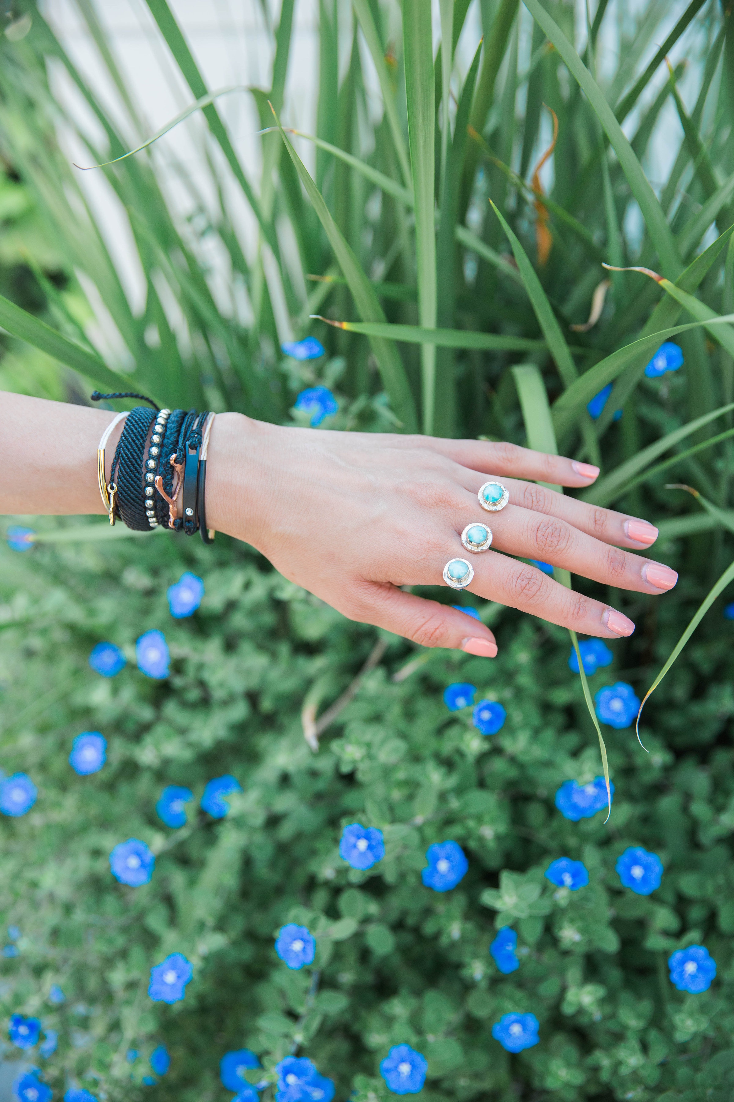 Not Today | Pura Vida Bracelets | Two Finger Turquoise Stone Ring