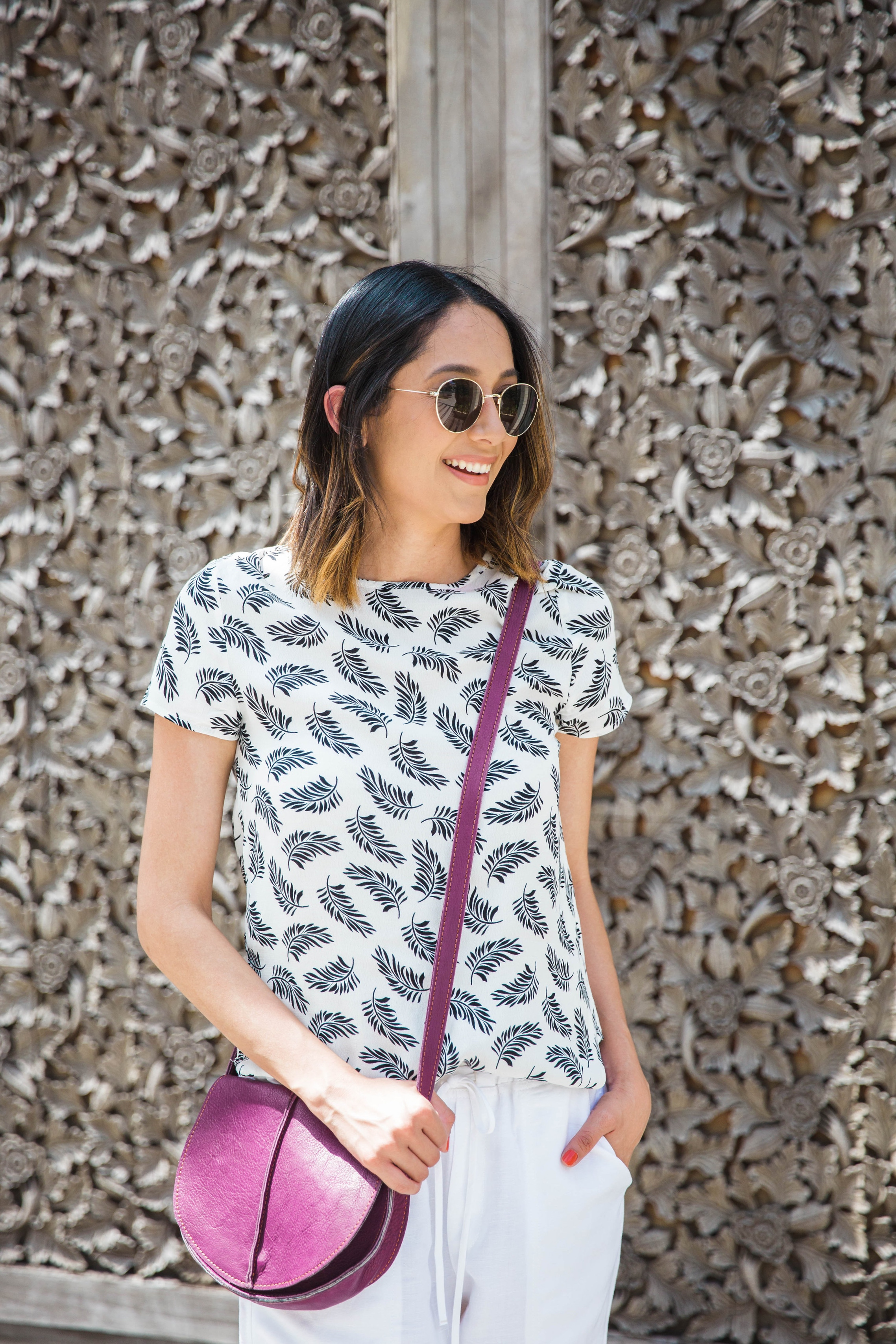 Feather Print Top | Pop Of Color | Summer Whites | Summer Look | Fresh Summer Look