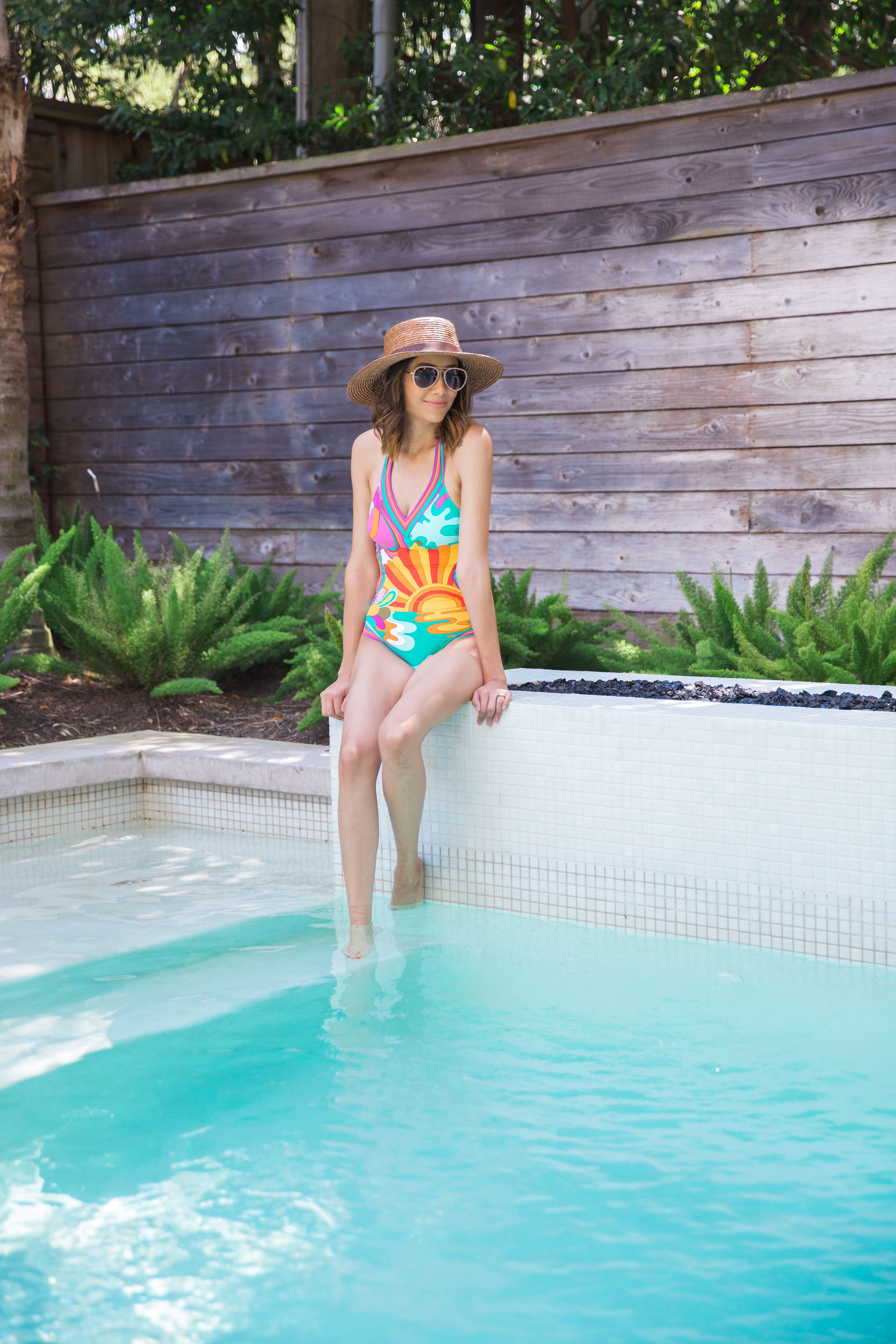 Hanging by the pool in Trina Turk Swim
