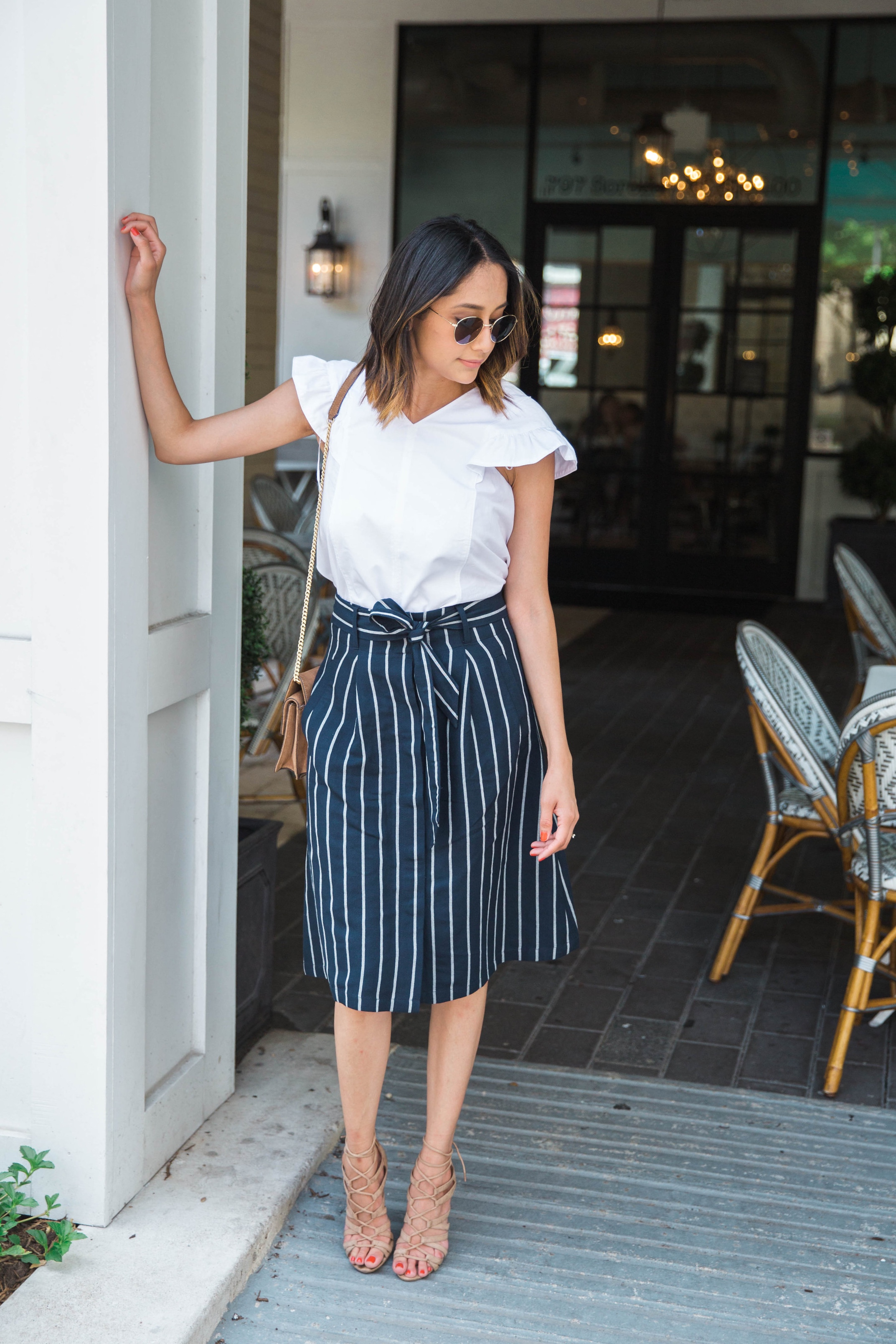 Office Look | Ruffle Sleeves & Striped Skirt