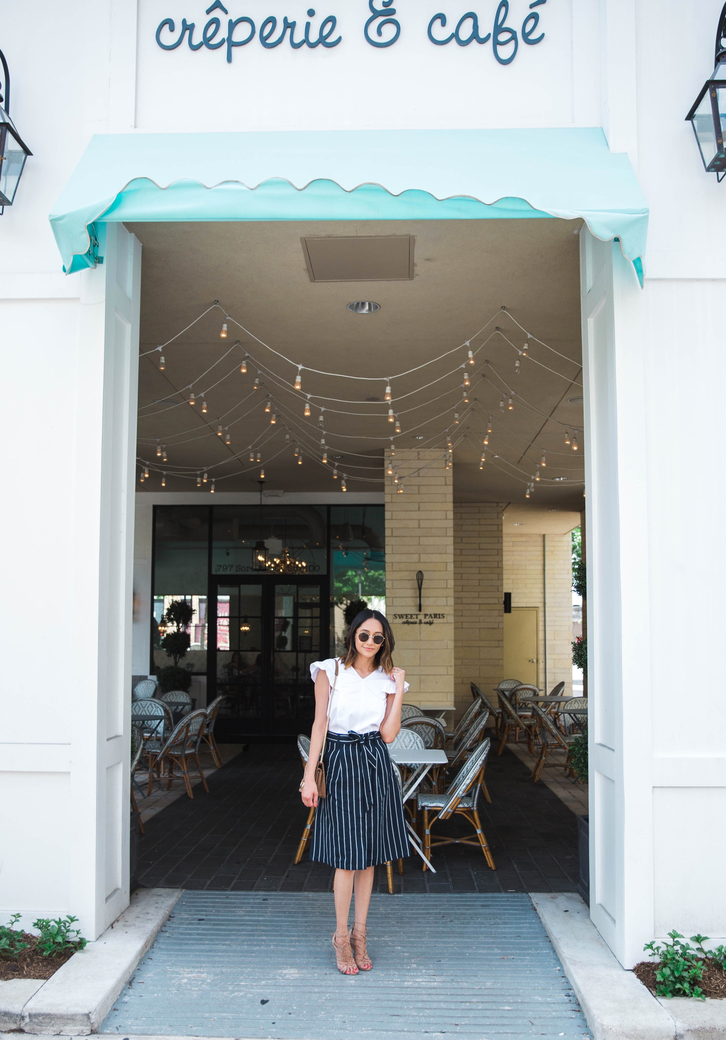 Parisian Chic Style | Ruffle Sleeves | Striped Skirt