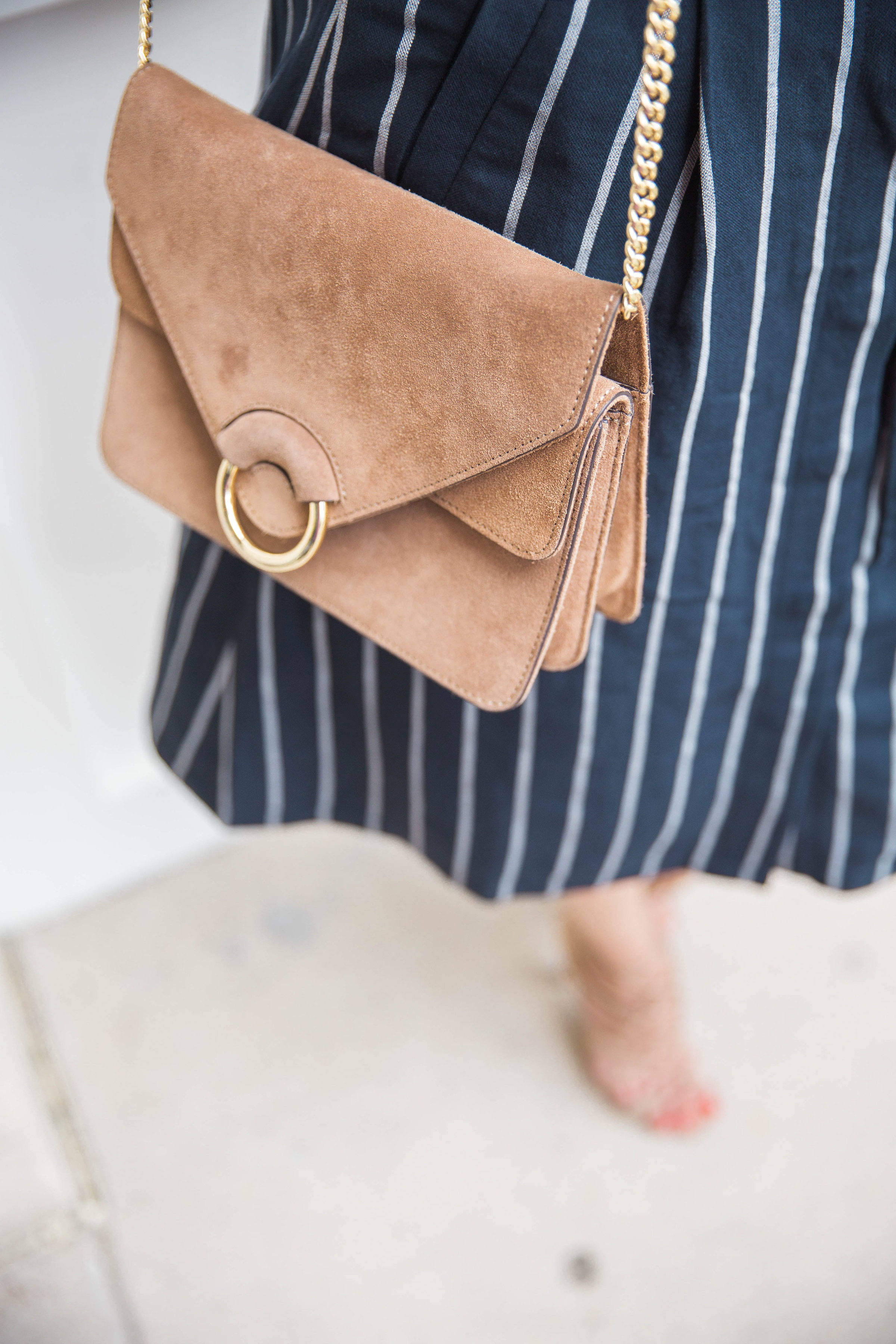 Ruffle Sleeves, Striped Skirt, Suede Bag