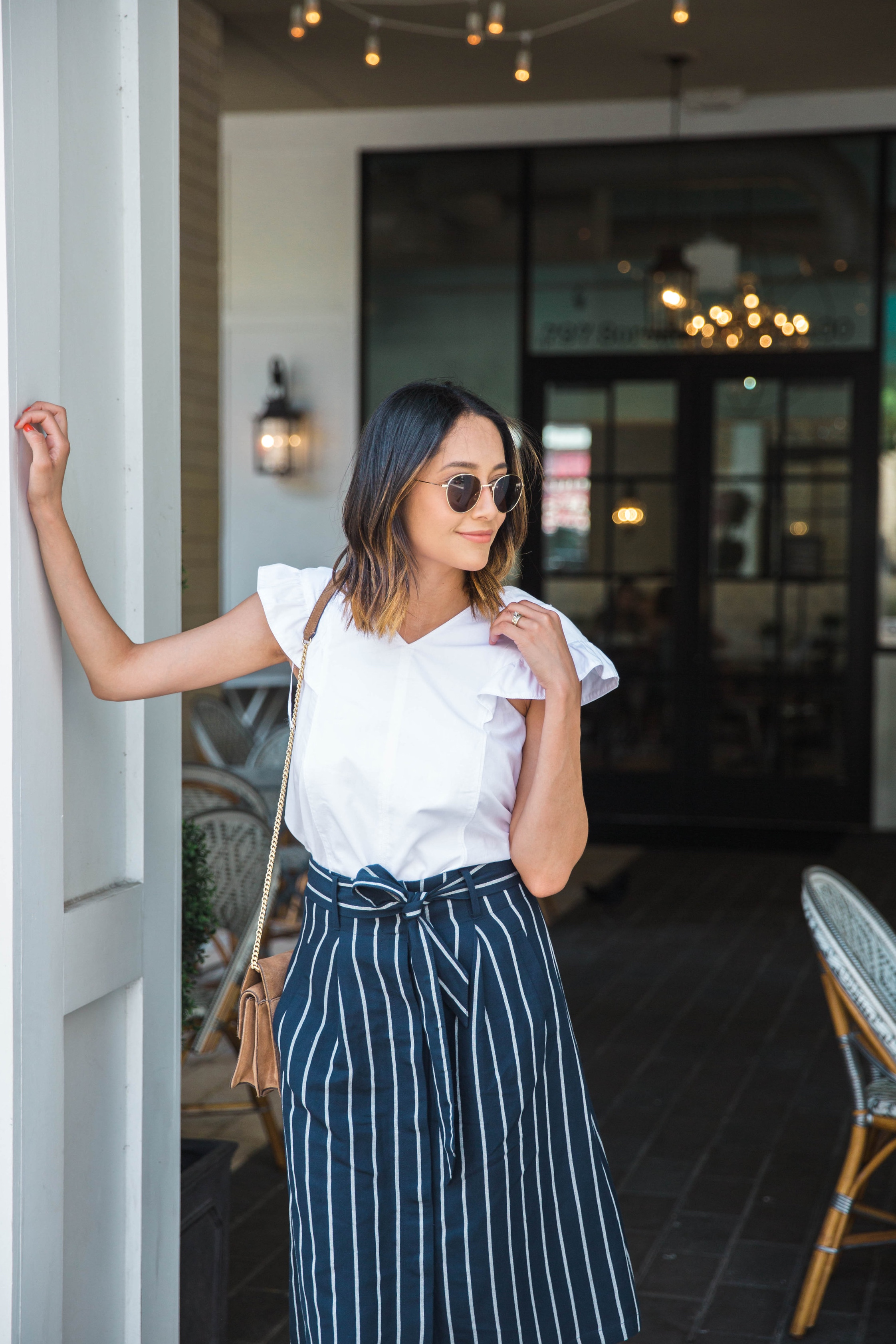 Ruffle Sleeves & Striped Skirt