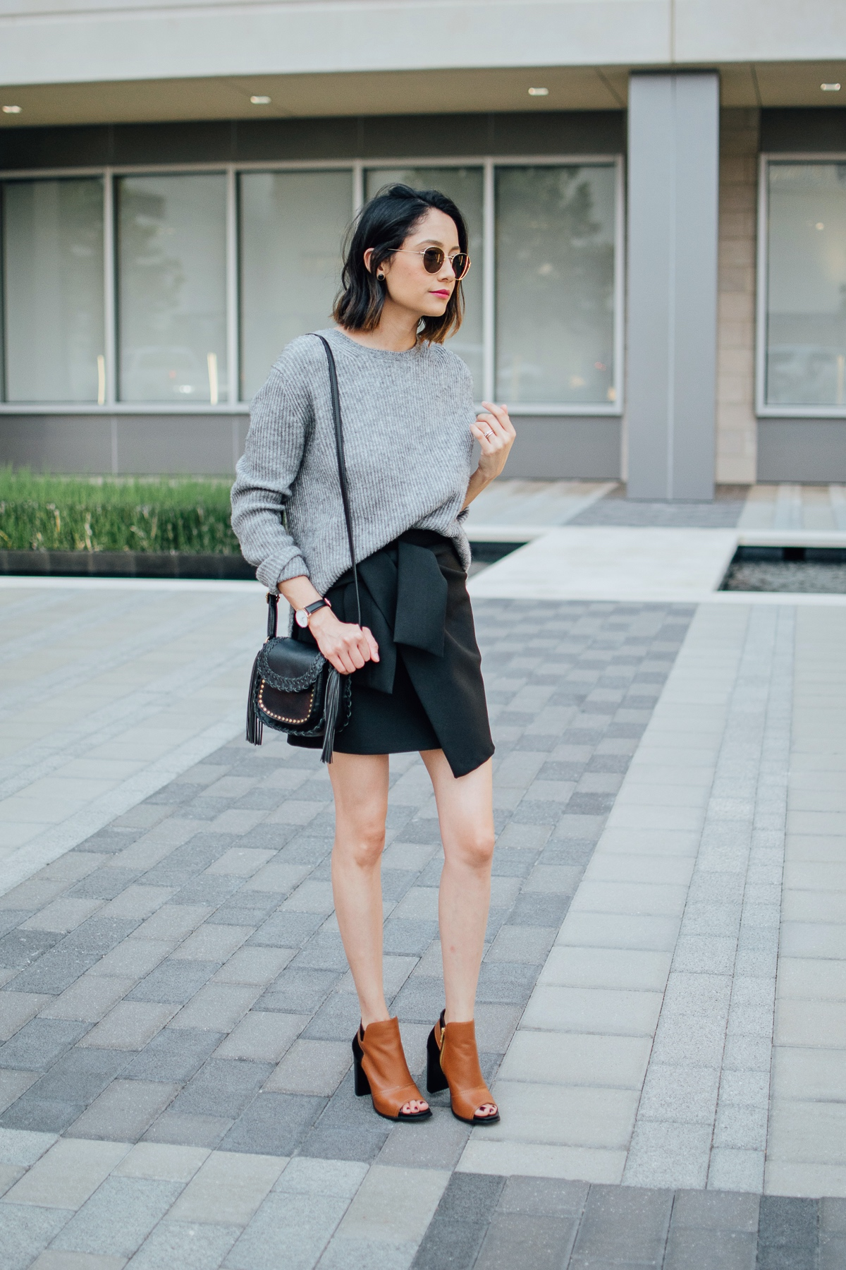 Wrap skirt leather booties daily craving