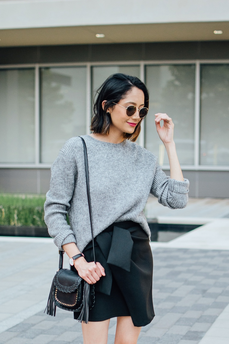 wrap skirt | Leather Booties | Oversized Jumper