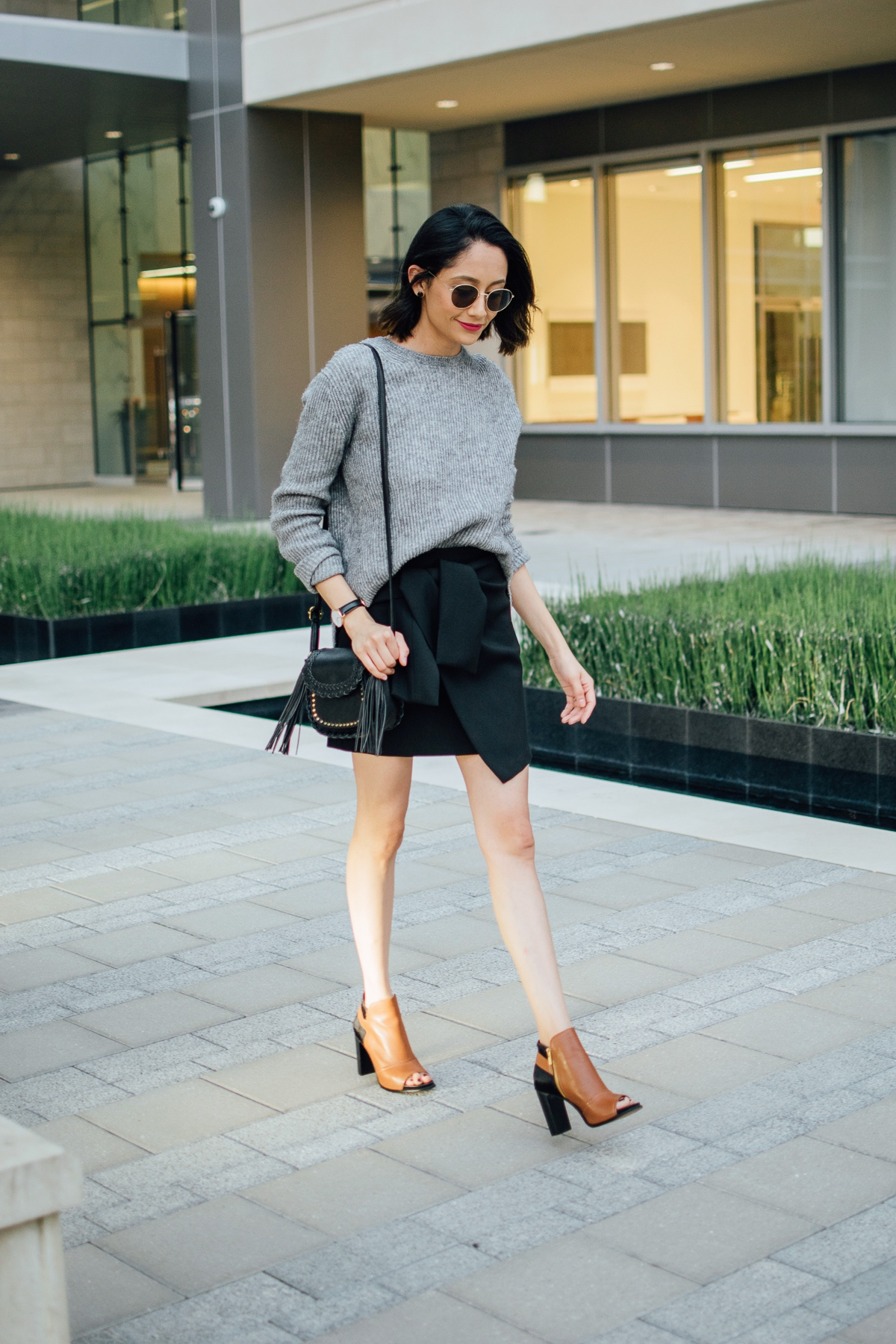 Leather Booties | Wrap Skirt | Fall Style