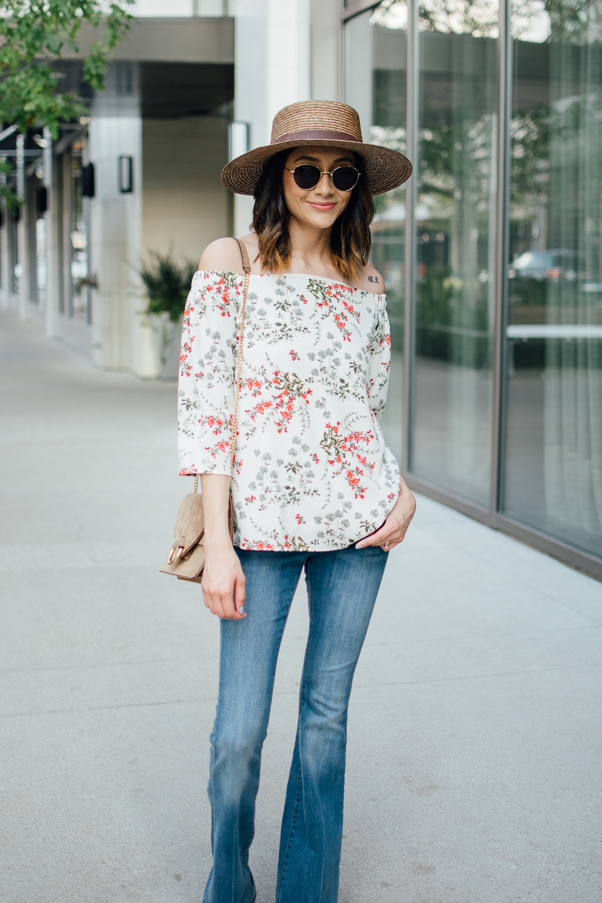 Off-the-shoulder top casual outfit